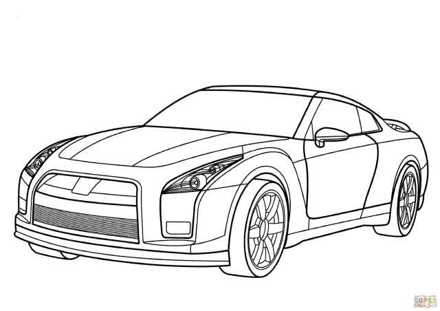 Nissan GT-R coloring page  Free Printable Coloring Pages
