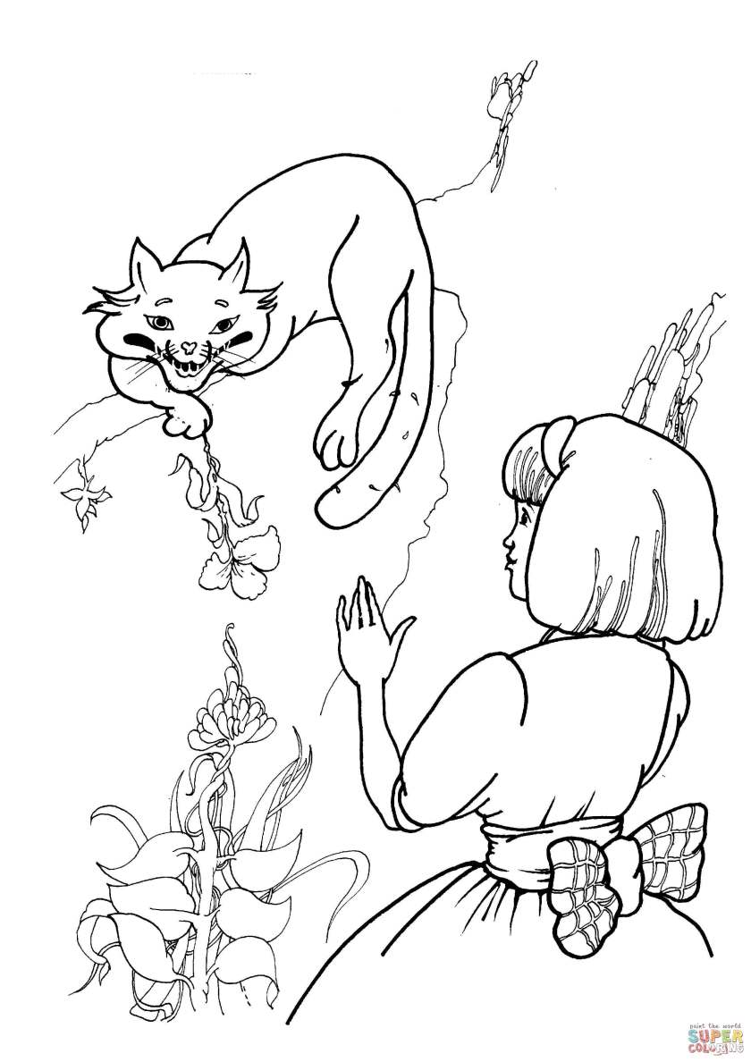 cheshire cat  alice coloring page  free printable