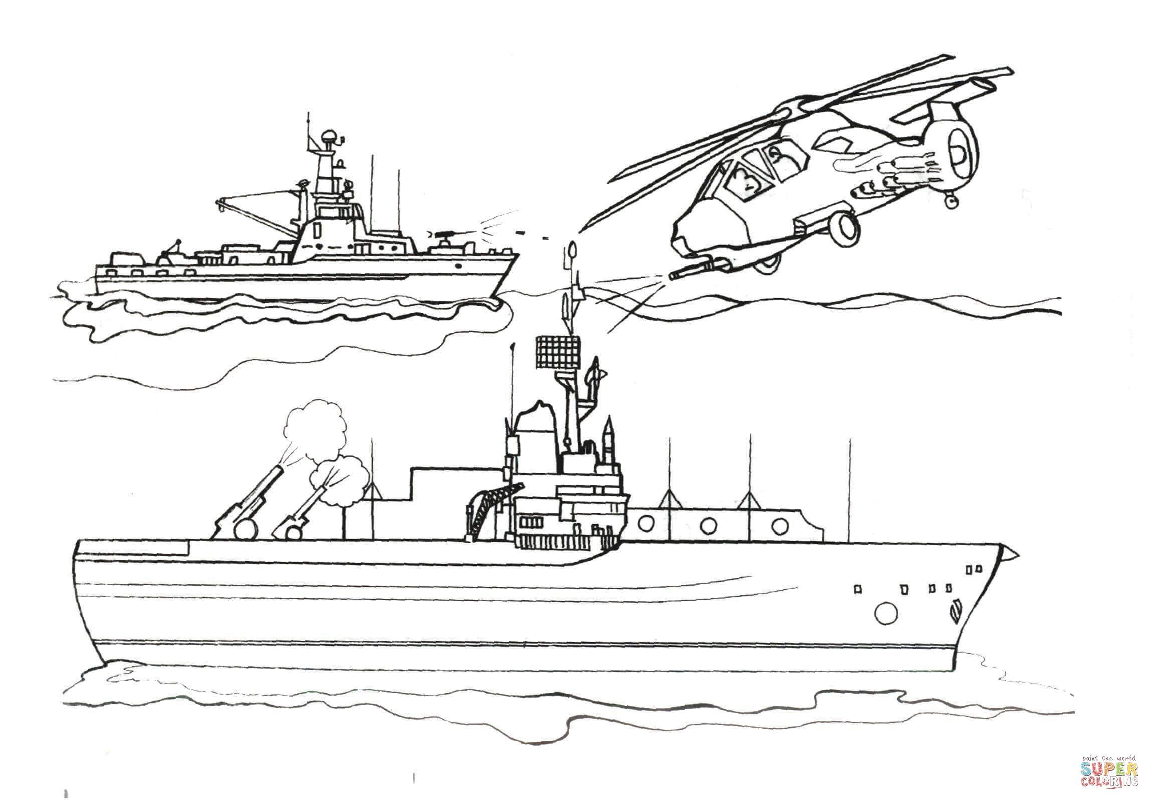 Helicopter Vs Battleship Coloring Page