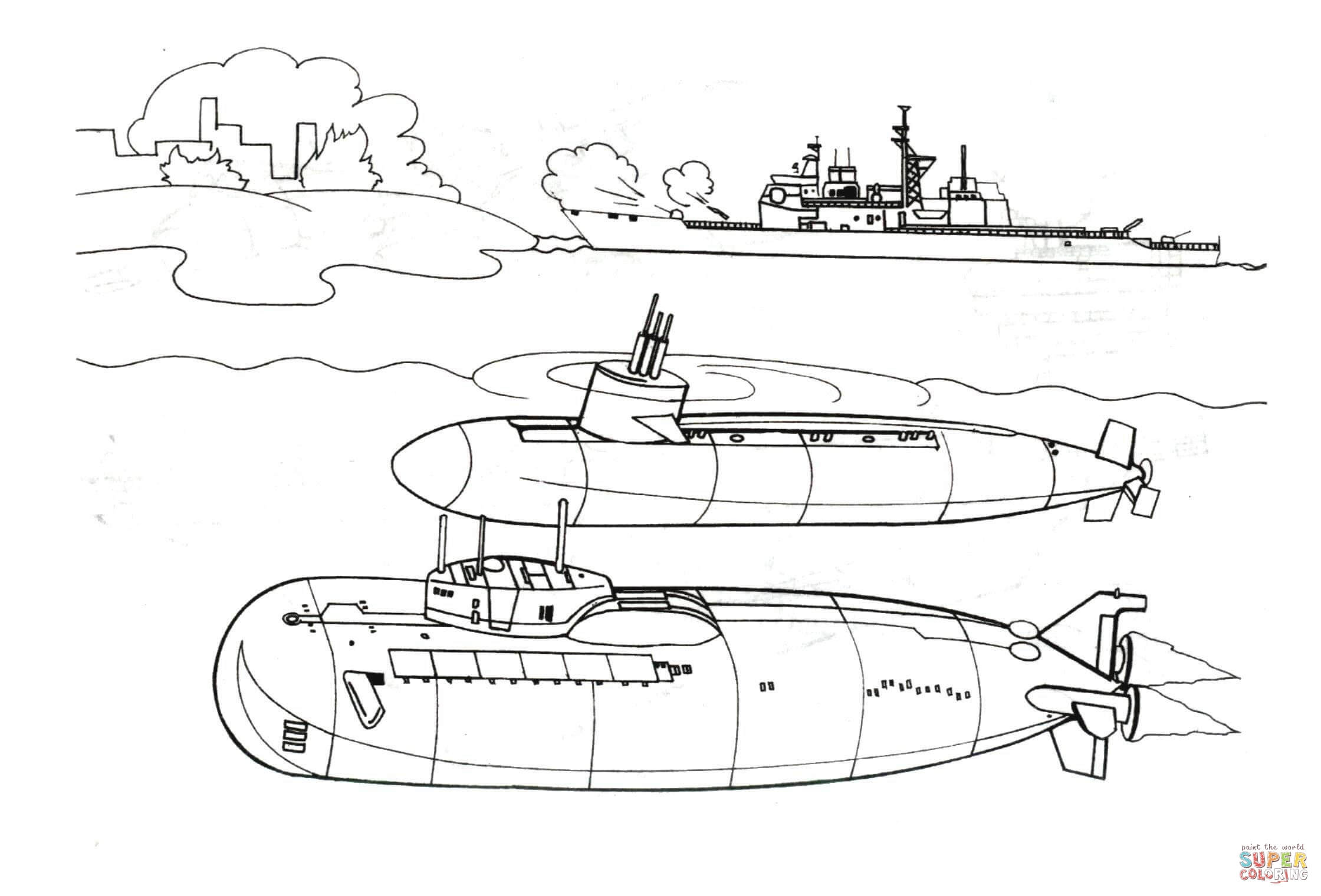 Two Submarines And Warship Coloring Page