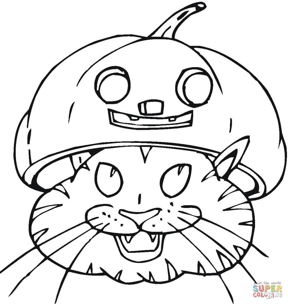 Black Cat In Jack O Lantern Coloring Page