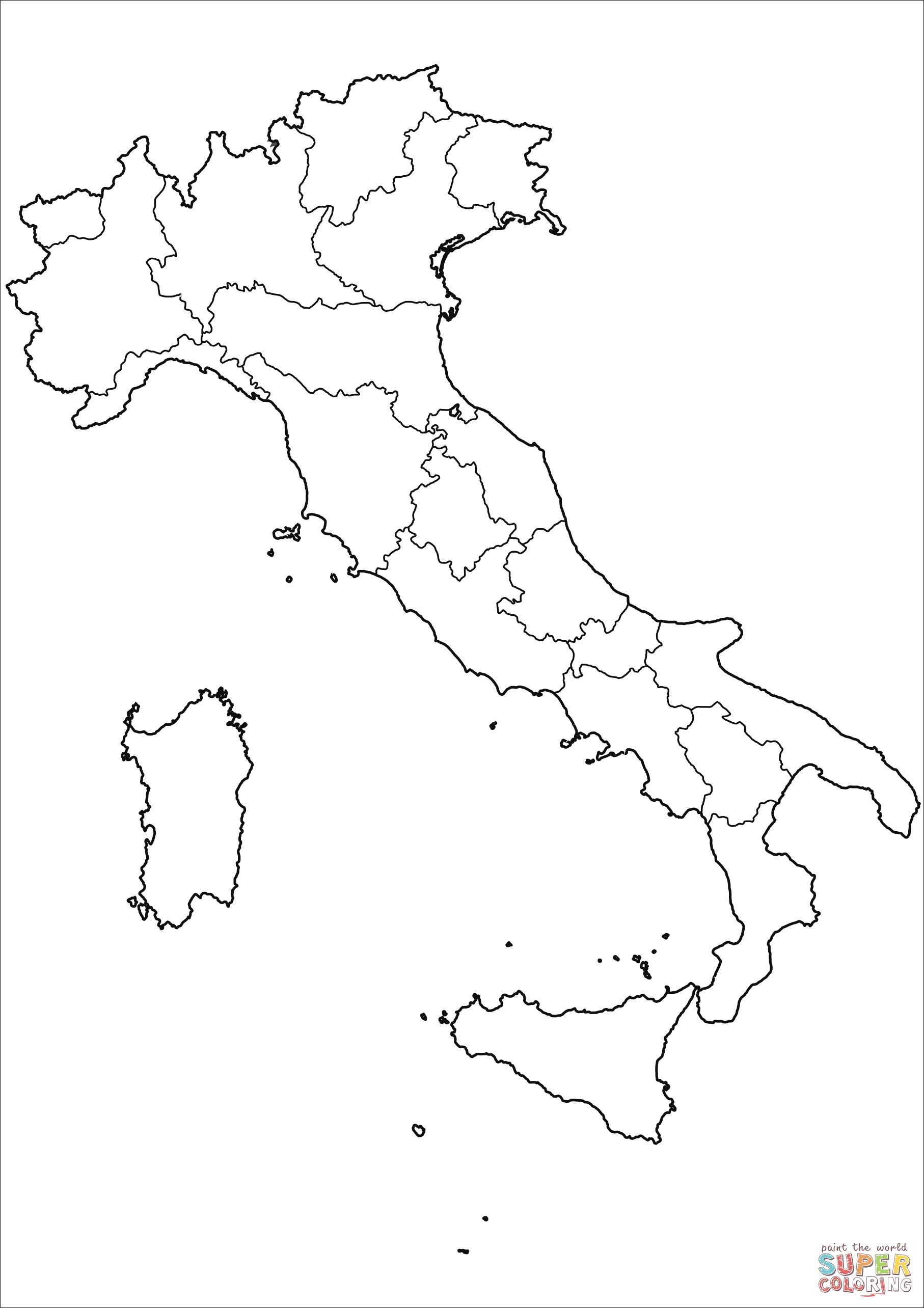 Dibujo De Mapa De Italia Para Colorear
