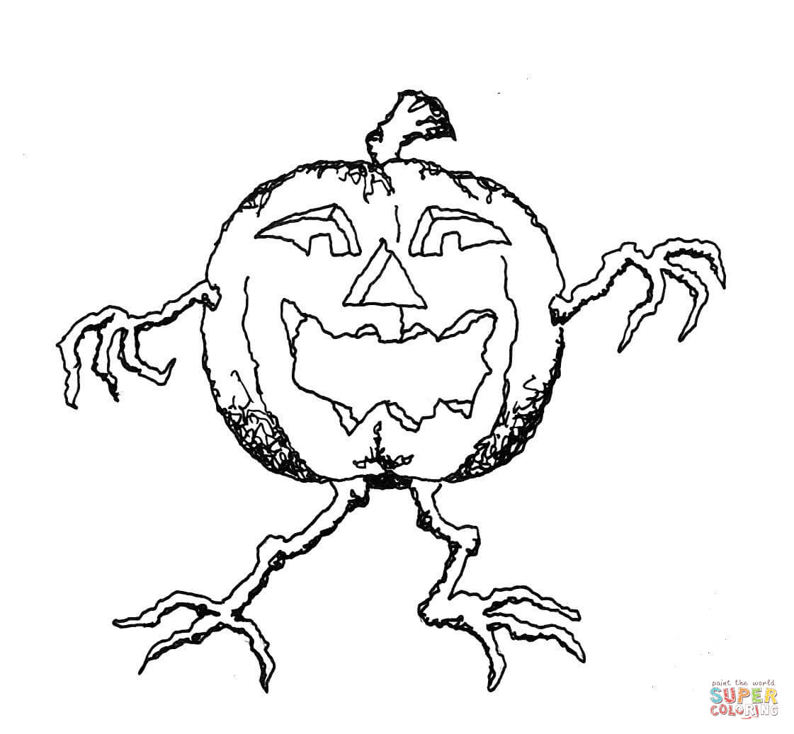 Jack O Lantern On Legs Coloring Page