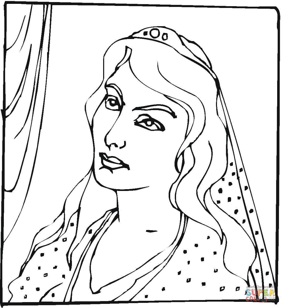 Ausmalbild Konigin Esther