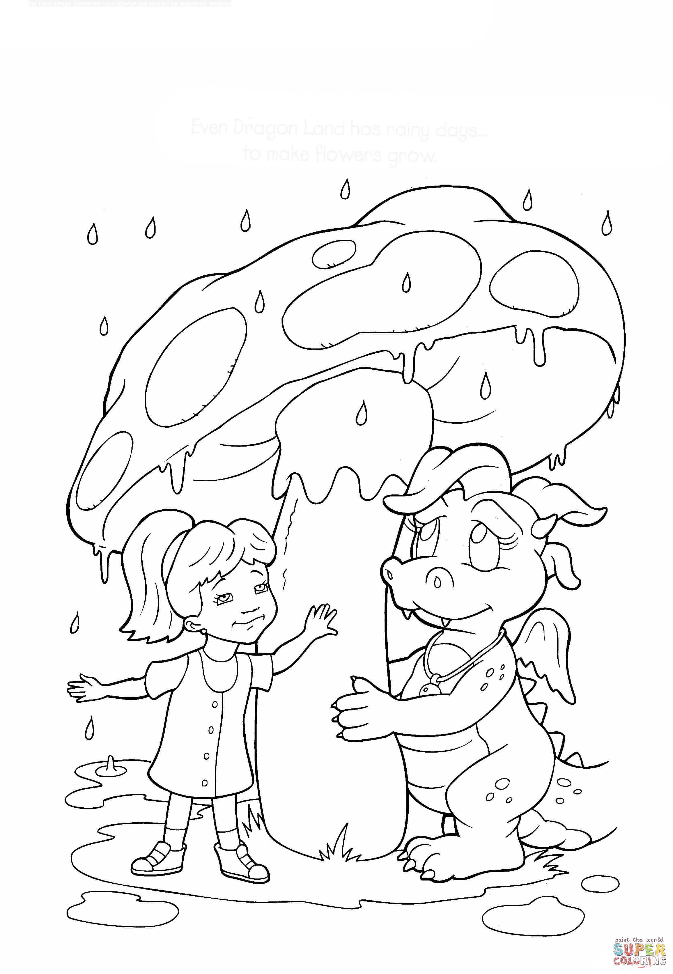 Rainy Day In Dragon Land Coloring Page