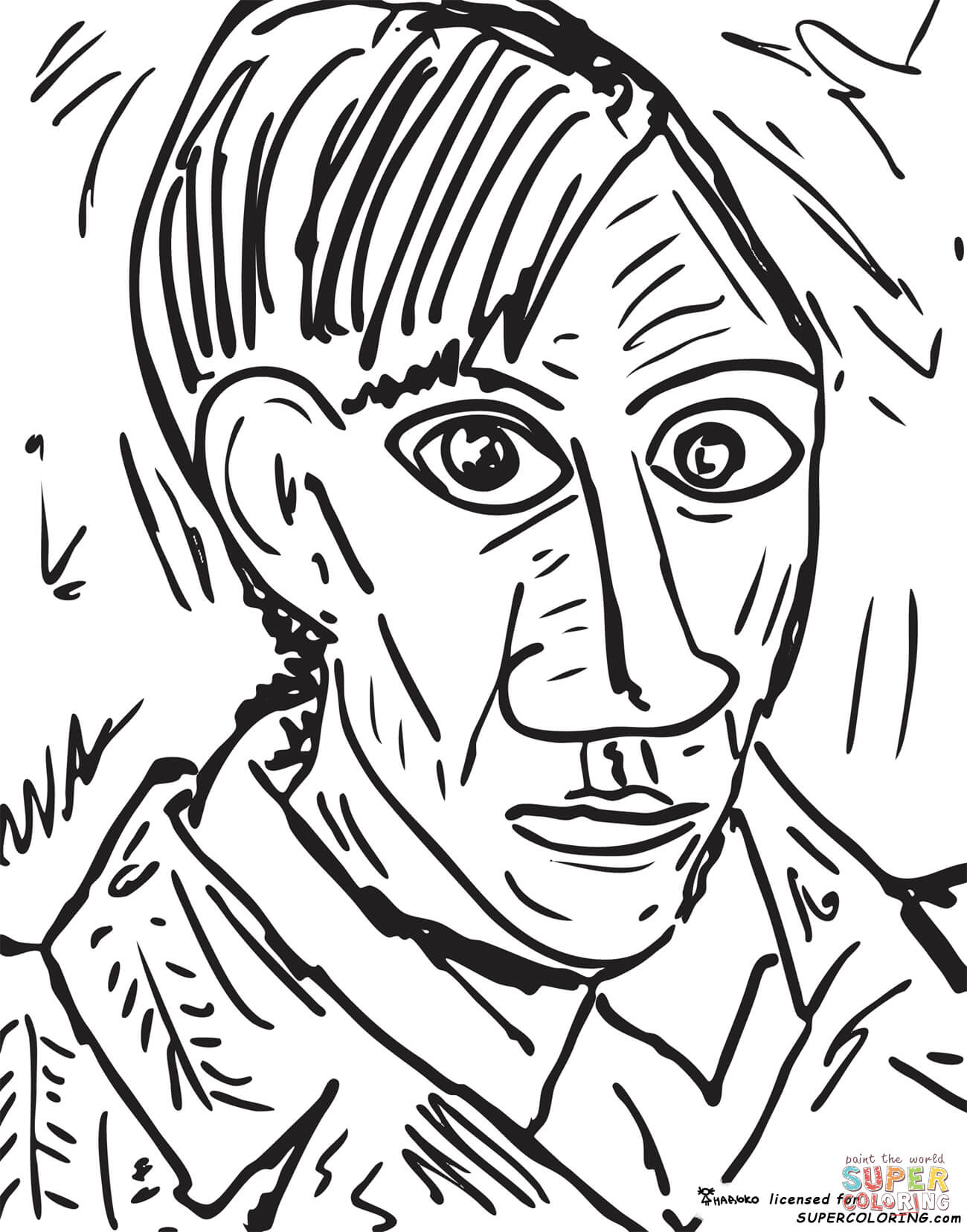 Pablo Picasso Three Musicians Coloring Page Coloring Pages
