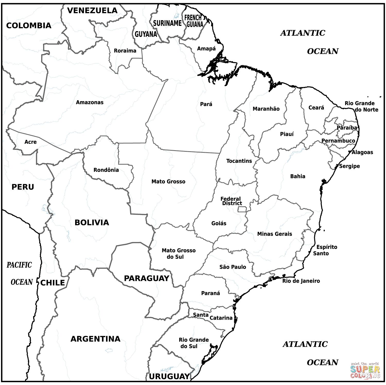 Desenho De Mapa Brasileiro Para Colorir