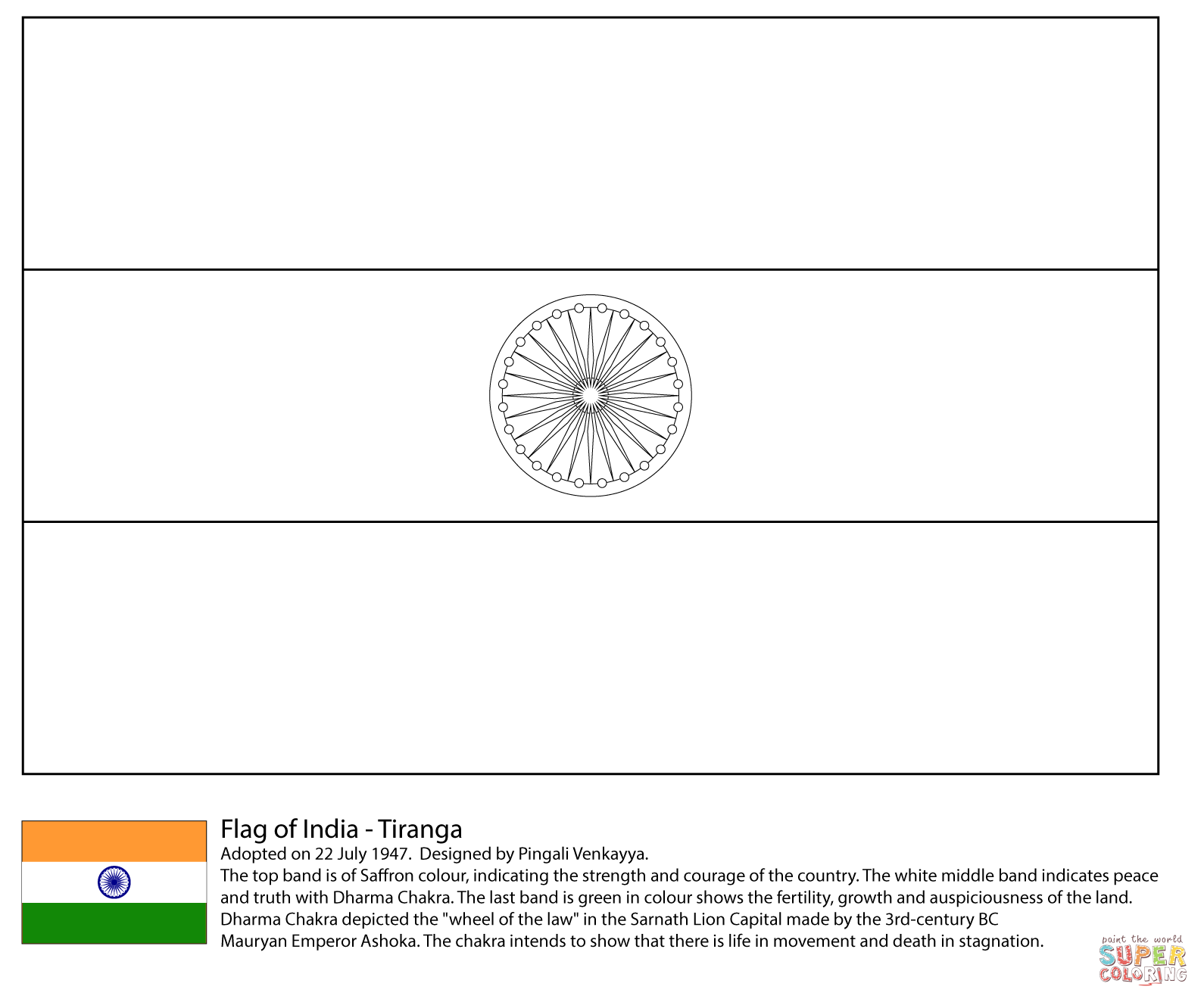 Flag Of India Coloring Page