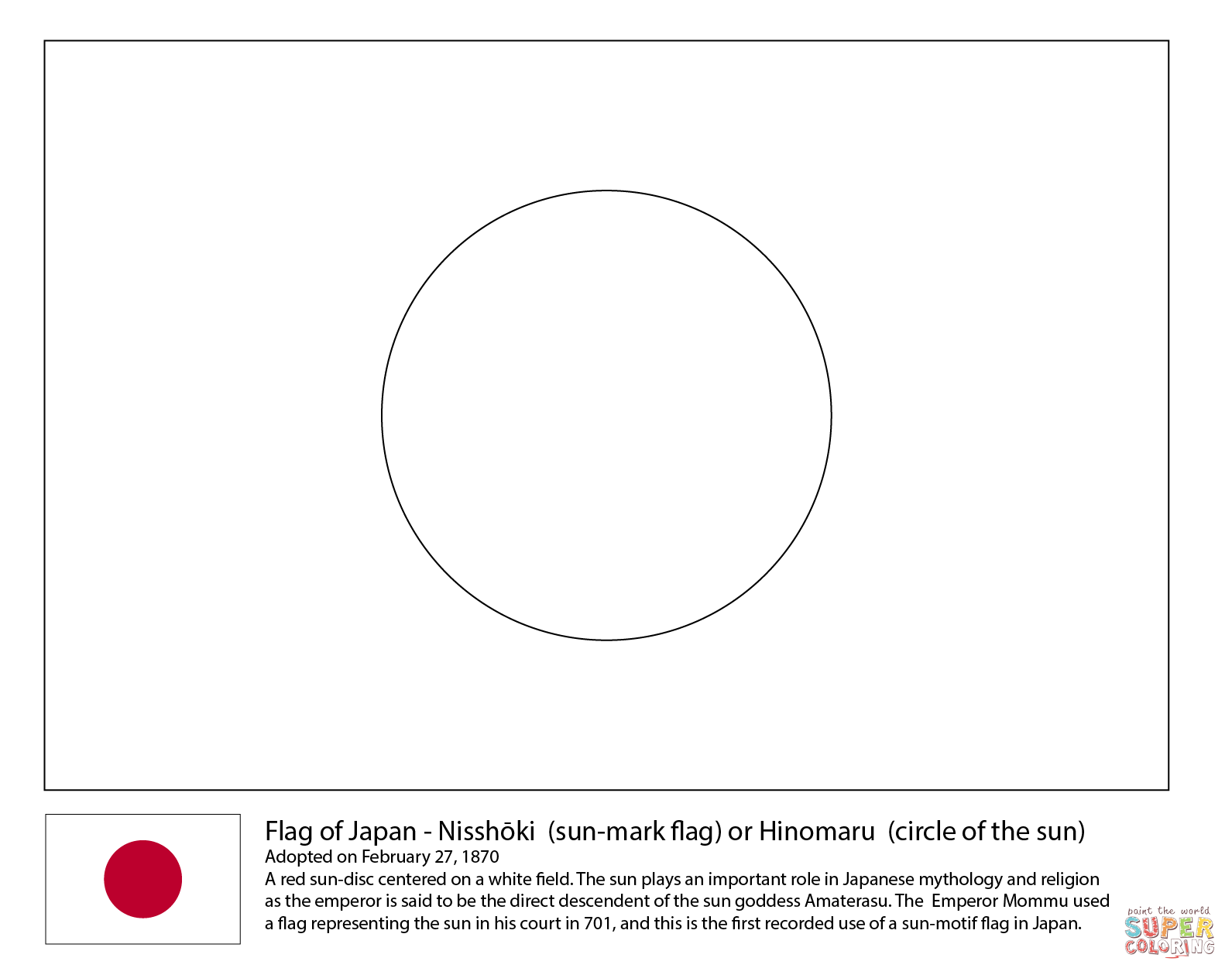 Flag Of Japan Coloring Page