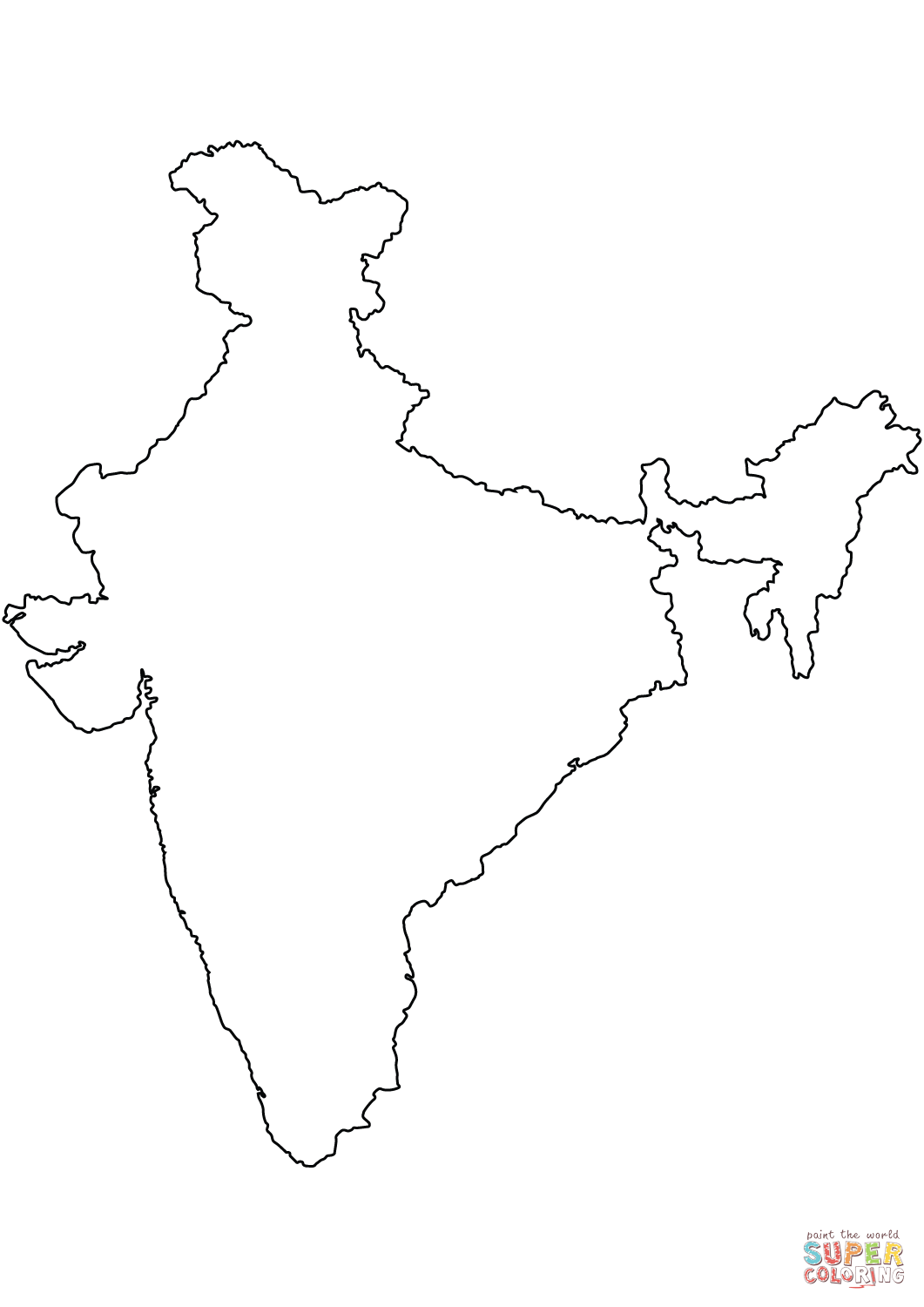India Blank Outline Map Coloring Page