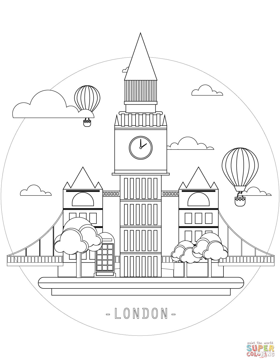 London Is The Capital Of Great Britain Big Ben Is A Symbol Of England Coloring Page