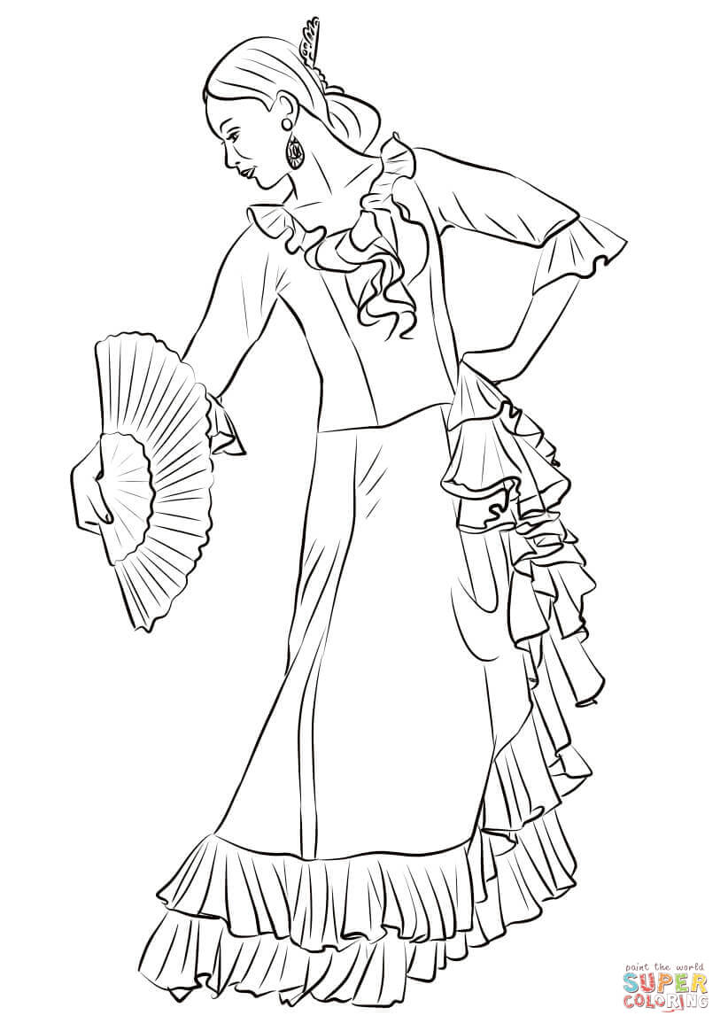 Spanish Flamenco Dancer Coloring Page Free Printable Coloring Pages
