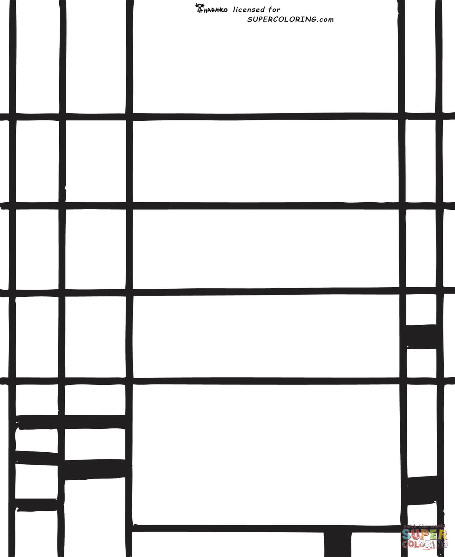 Ausmalbild Komposition 10 Von Piet Mondrian