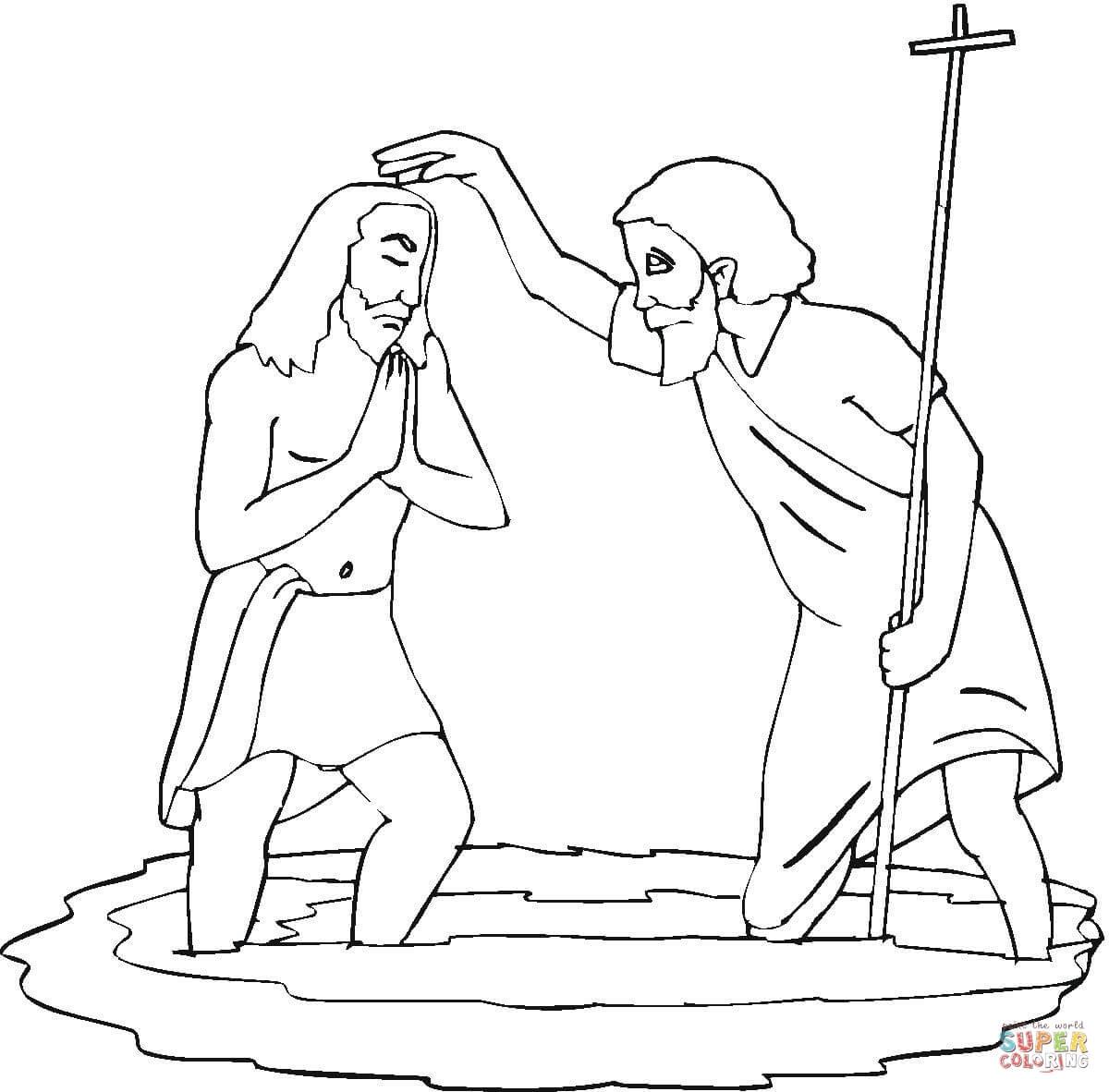 John Baptising Jesus Coloring Page