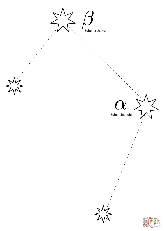 Libra Constellation Scales Coloring Page