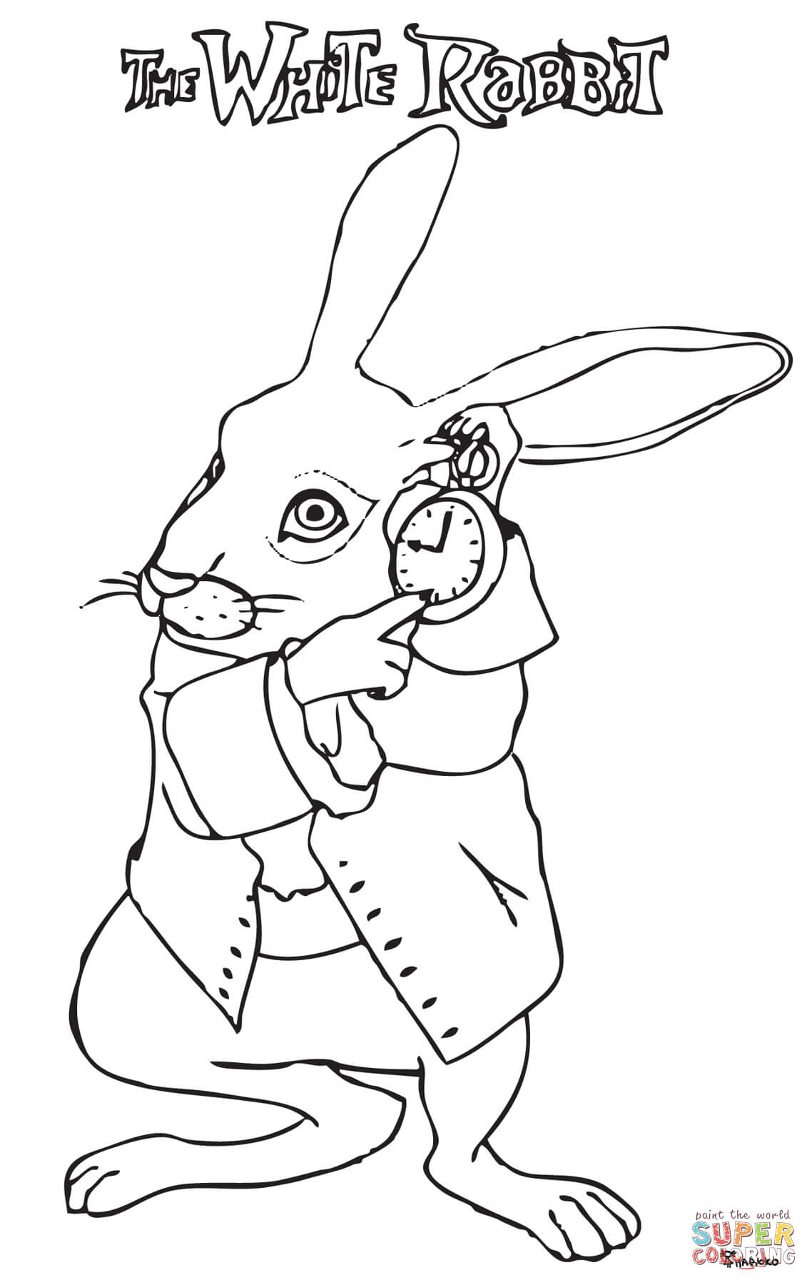 The White Rabbit In A Hurry Coloring Page