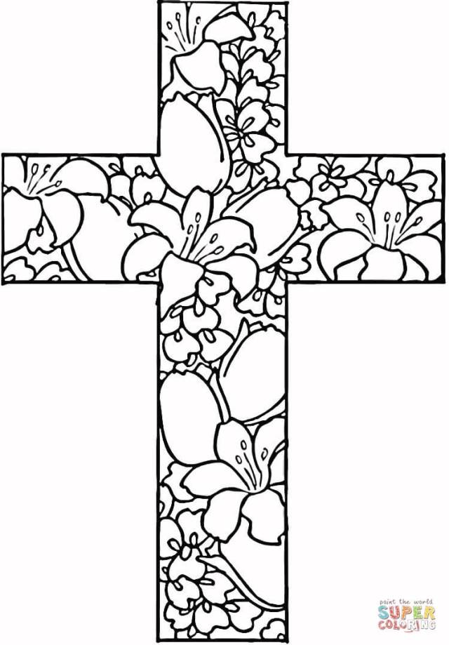 Flowers in Cross coloring page  Free Printable Coloring Pages