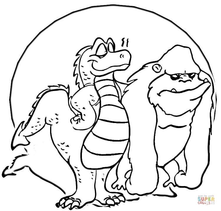 godzilla and king kong coloring page  free printable