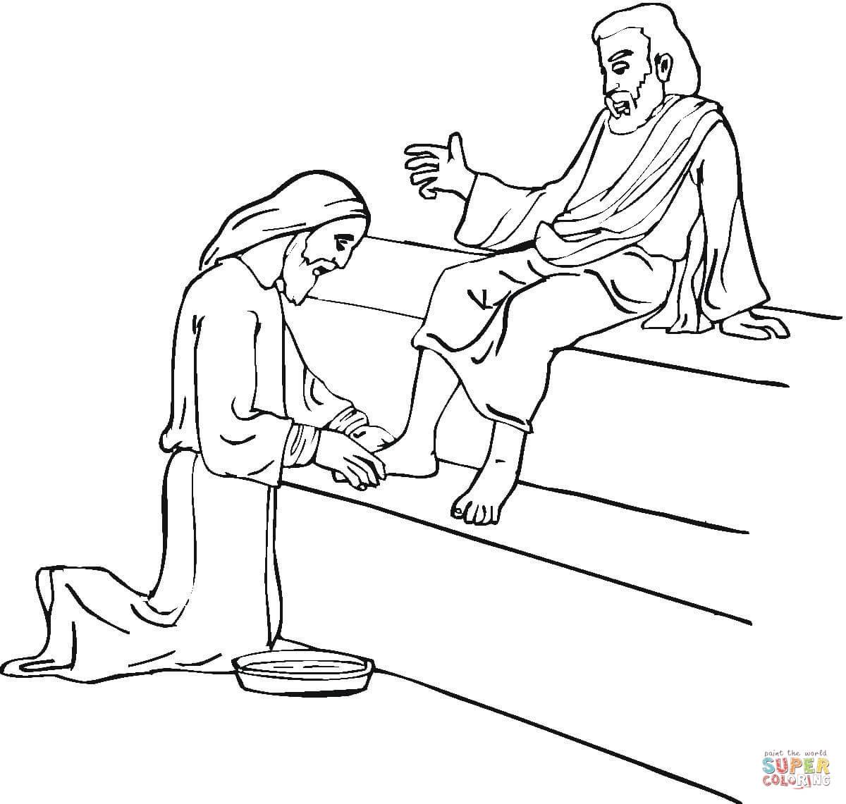 Jesus Washing Feet Coloring Page