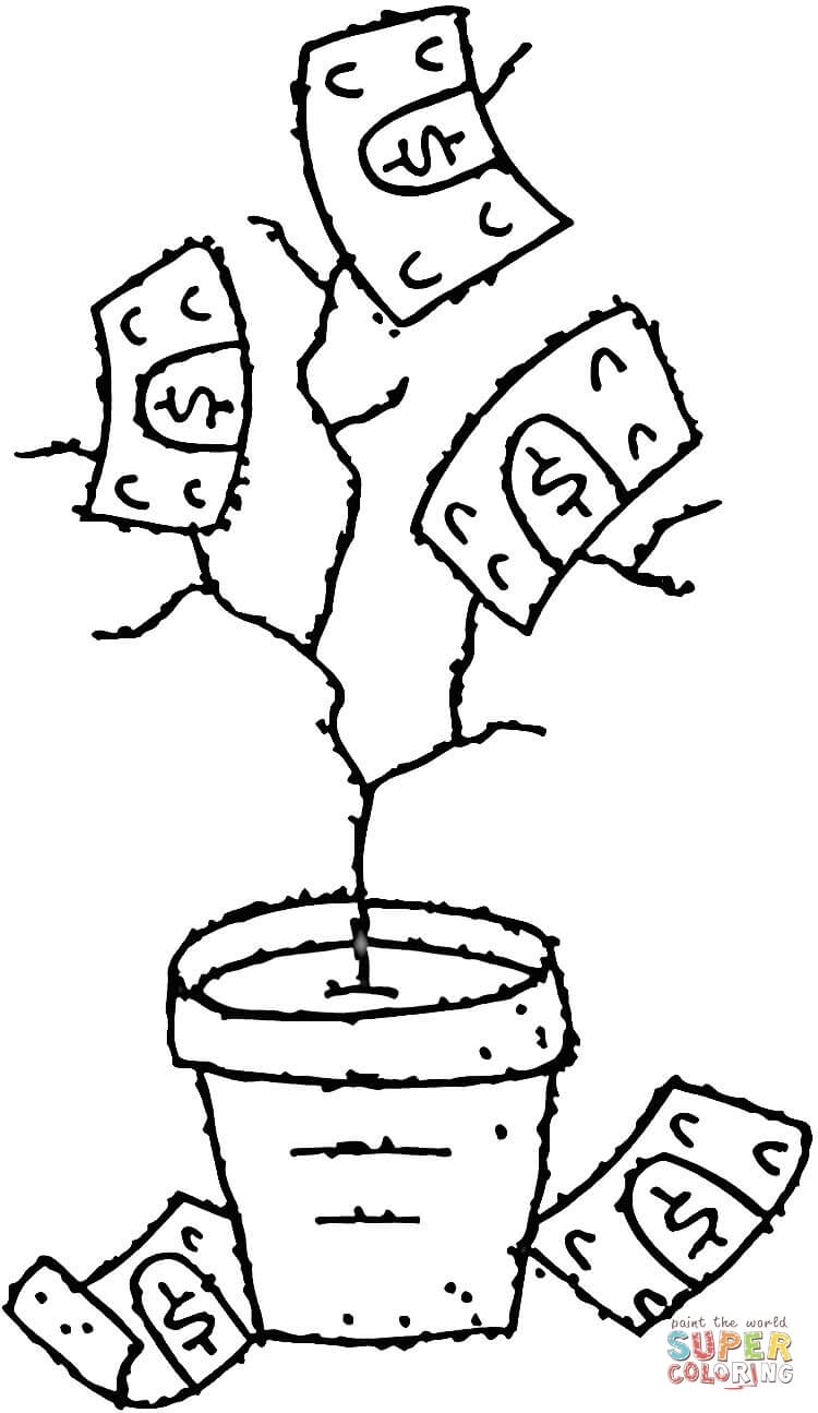 money tree coloring page  free printable coloring pages