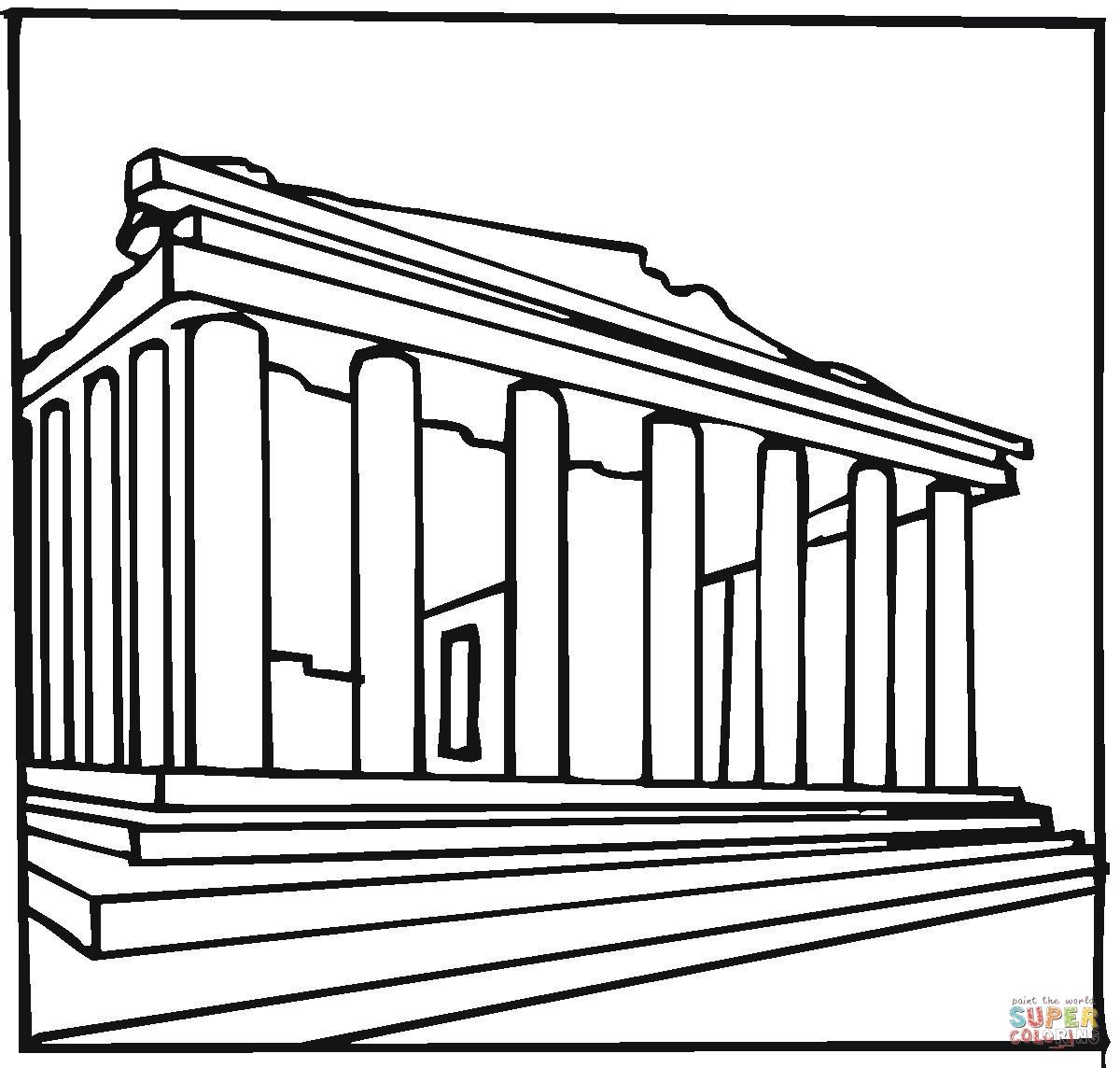 Parthenon Greece Coloring Page