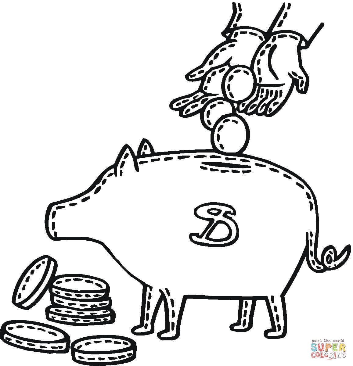 Penny Deposit Into A Piggy Bank Coloring Page
