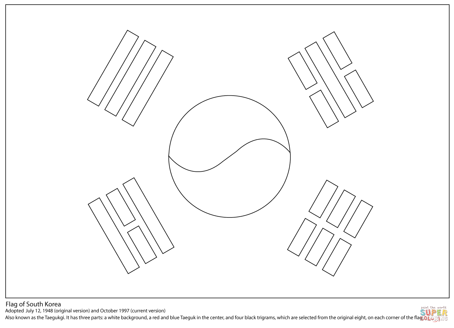Flag Of South Korea Coloring Page
