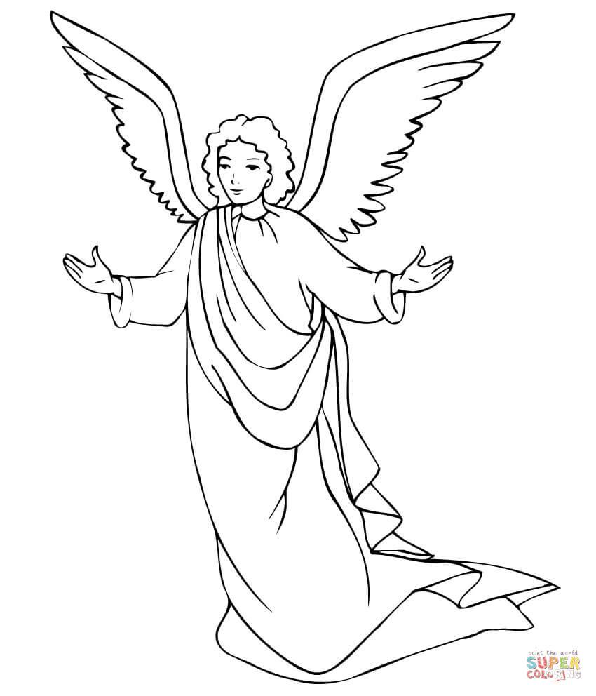 Christmas Angel With Lantern Coloring Page Free Printable