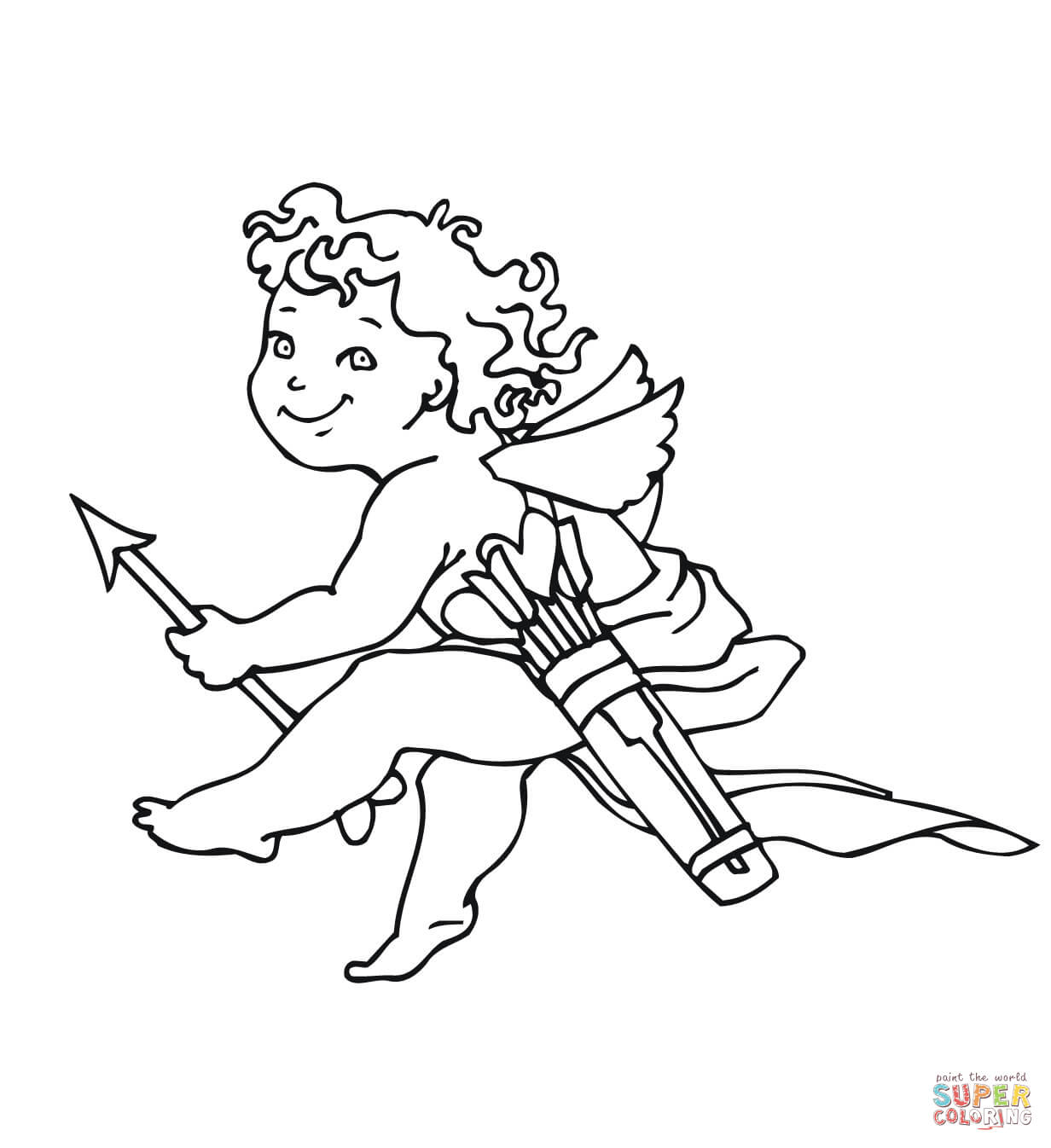 Valentine S Day Cupid Coloring Page