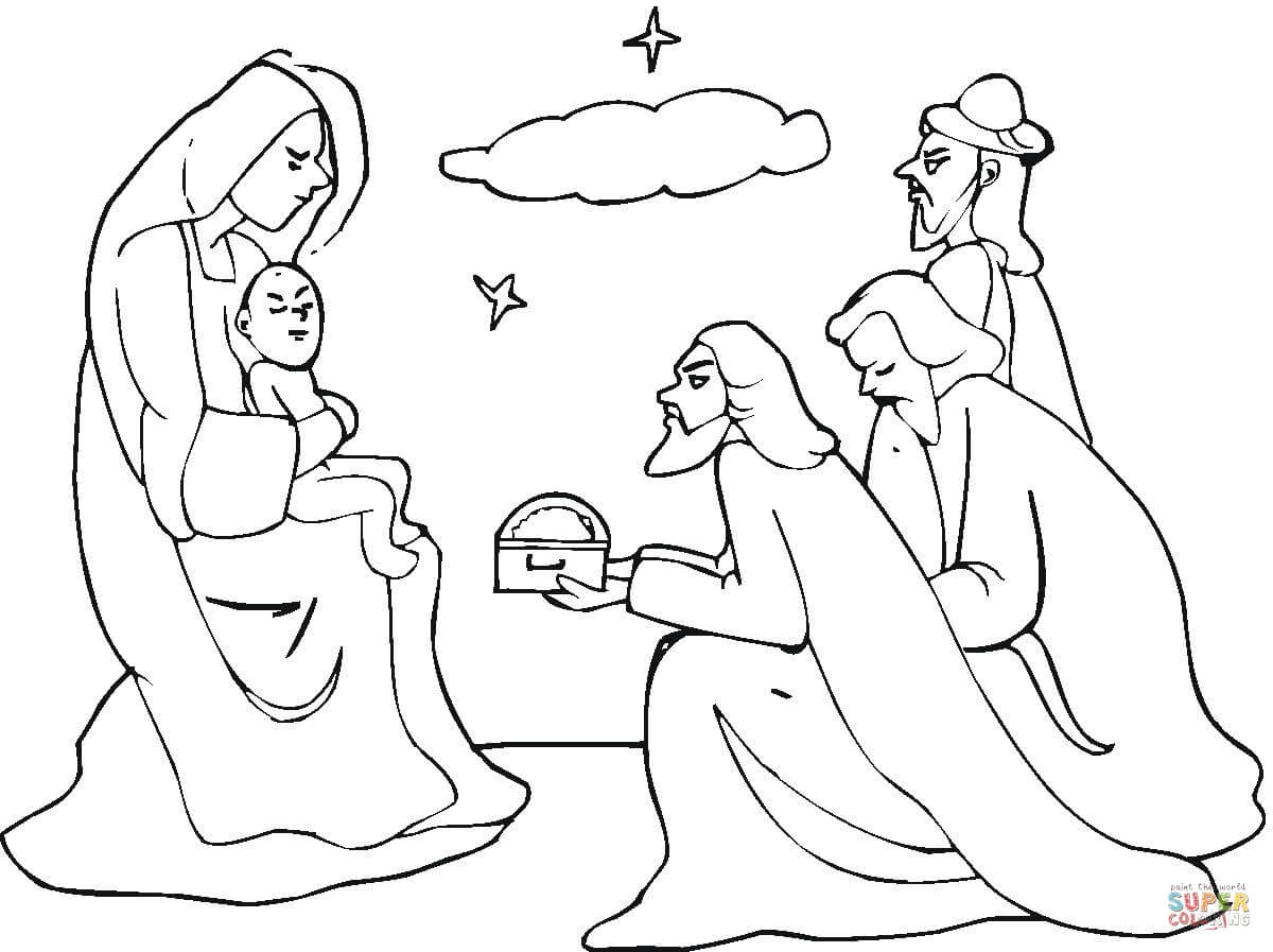Dibujo De Los Reyes Magos De Oriente Visitan A Jesus Para Colorear