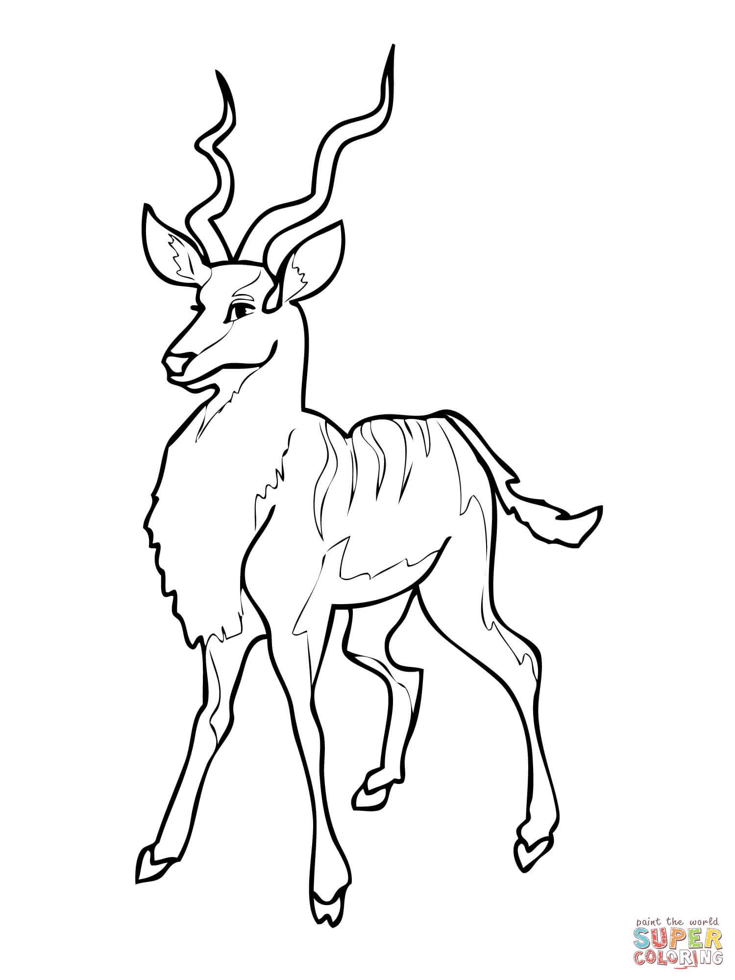 Kudu Antelope Coloring Page