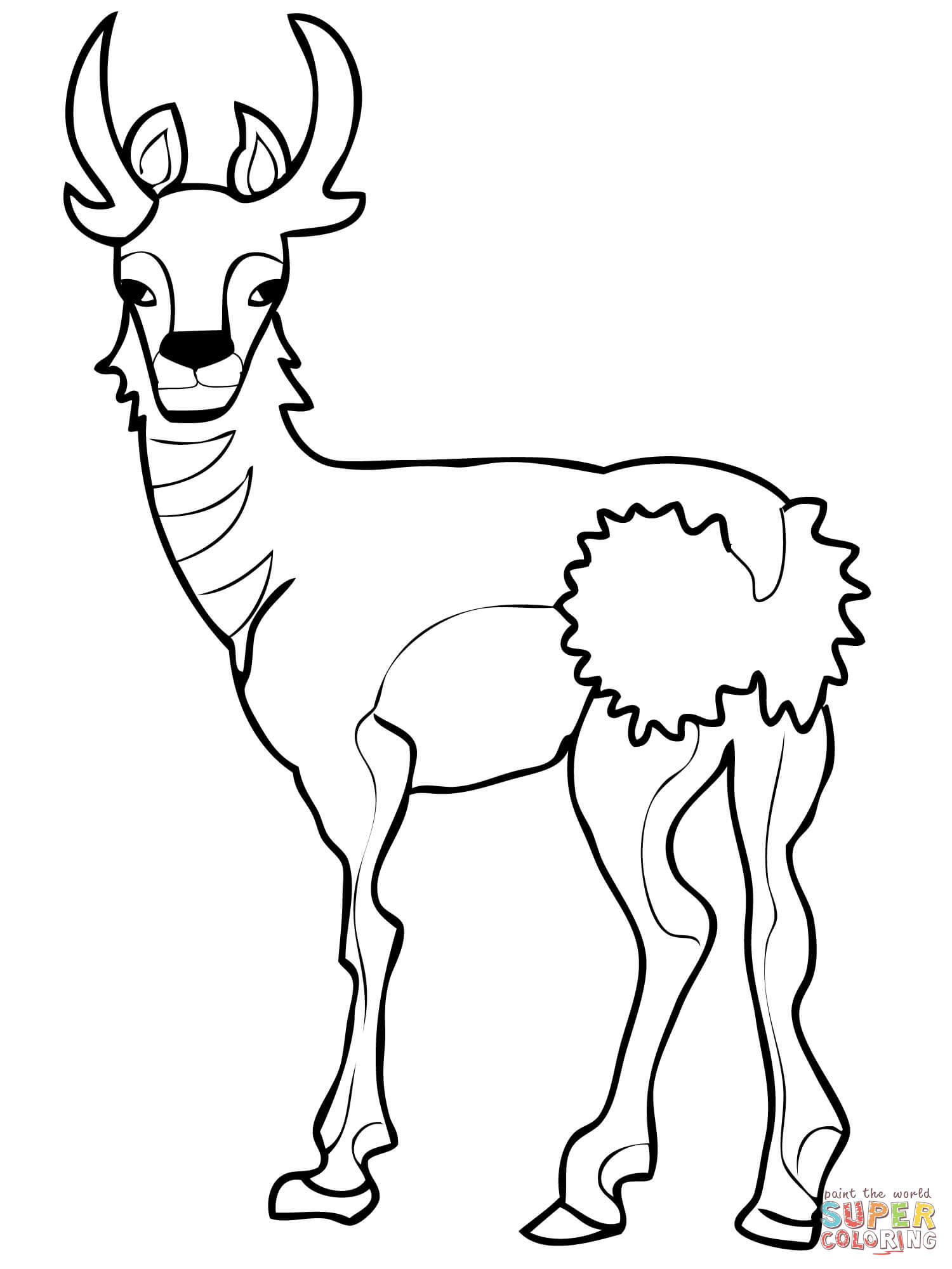 North American Pronghorn Coloring Page Free Printable