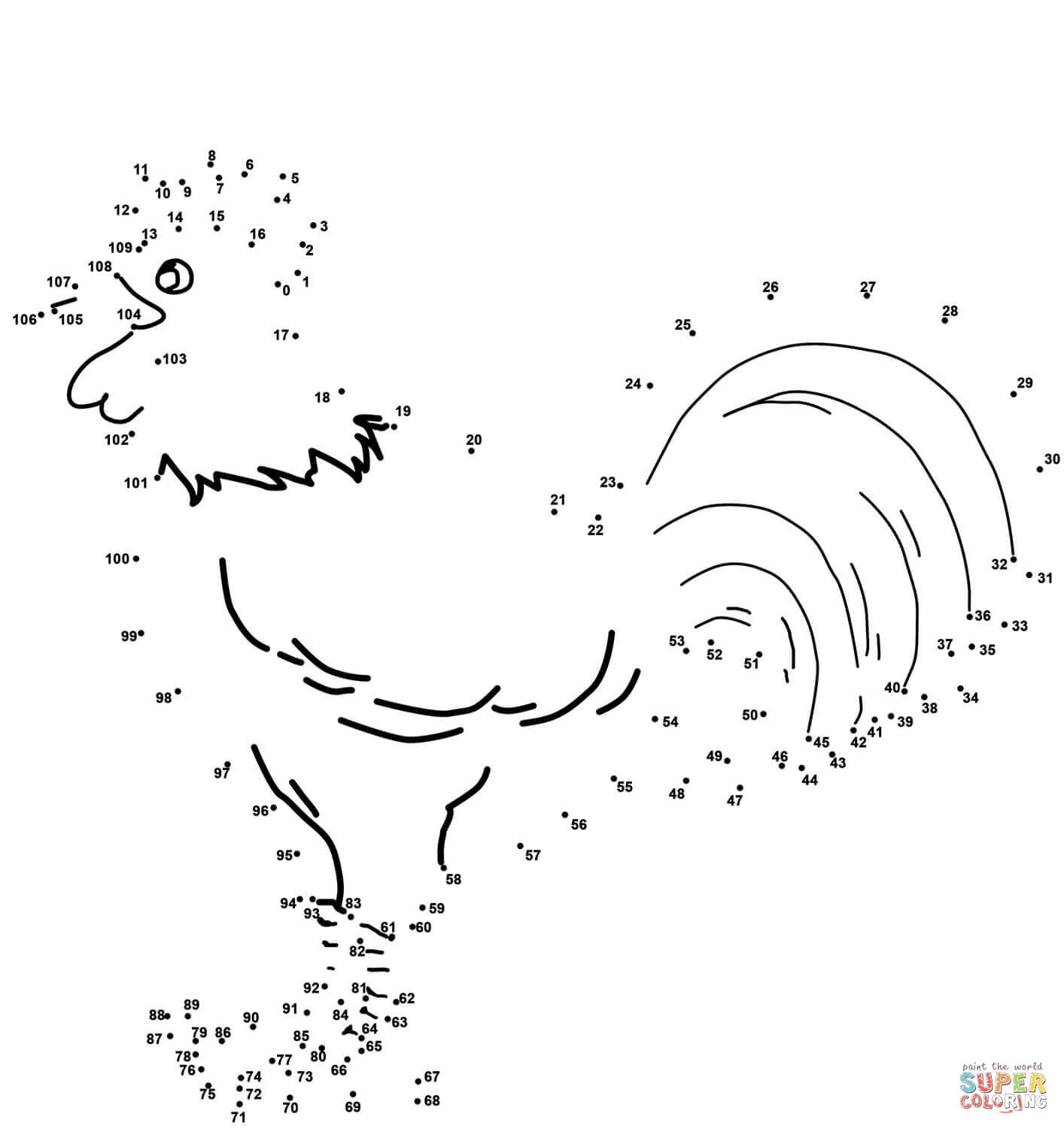 Rooster Dot To Dot