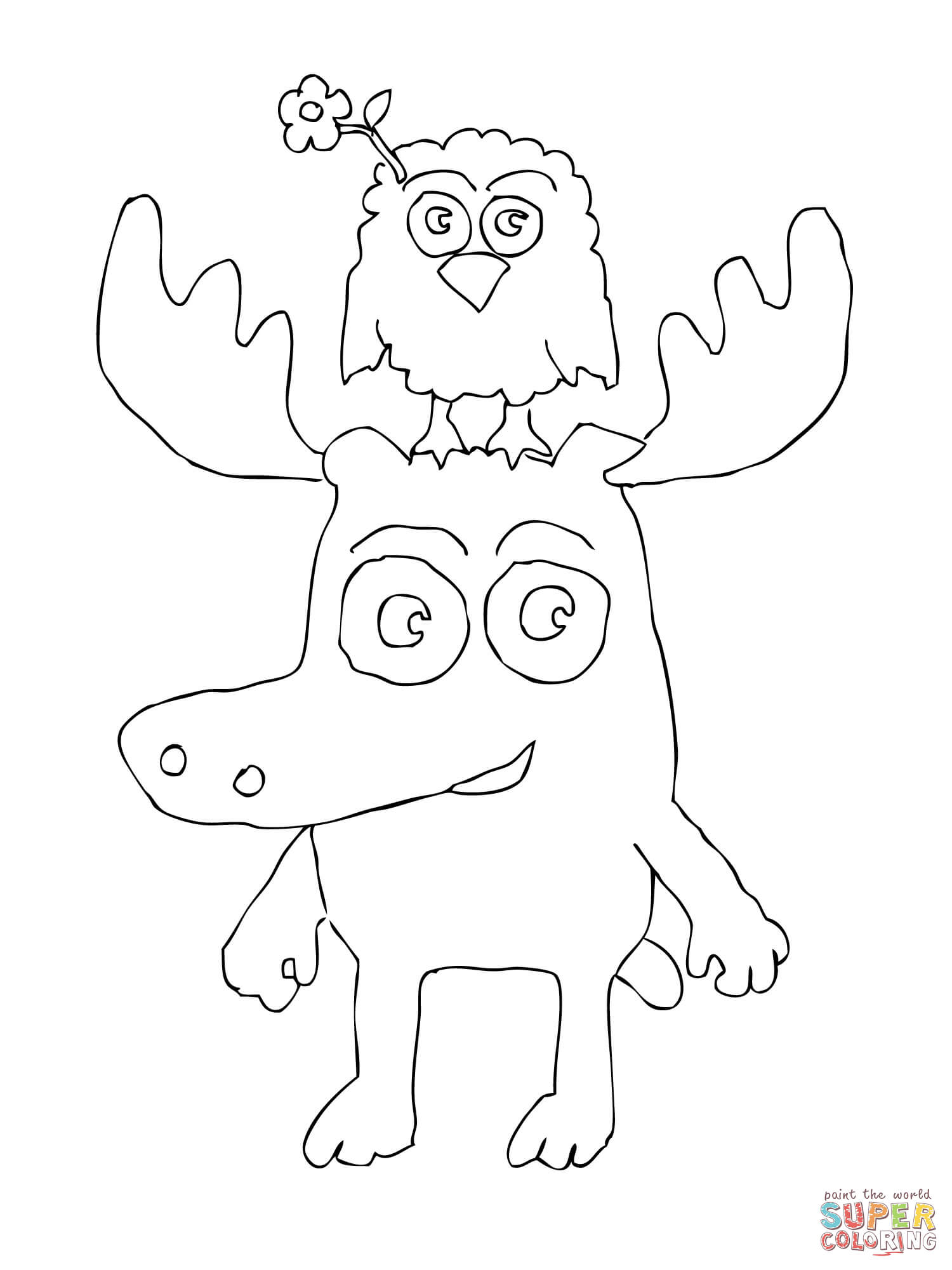 Zee Is Standing On Moose A Mooses Head Coloring Page