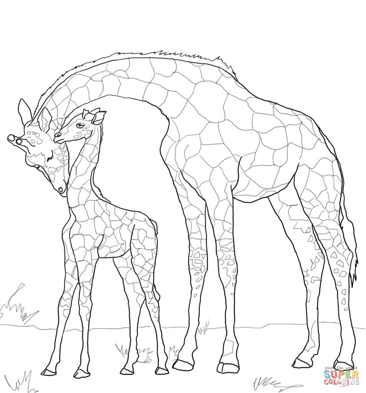 Baby Giraffe And Mother Coloring Page