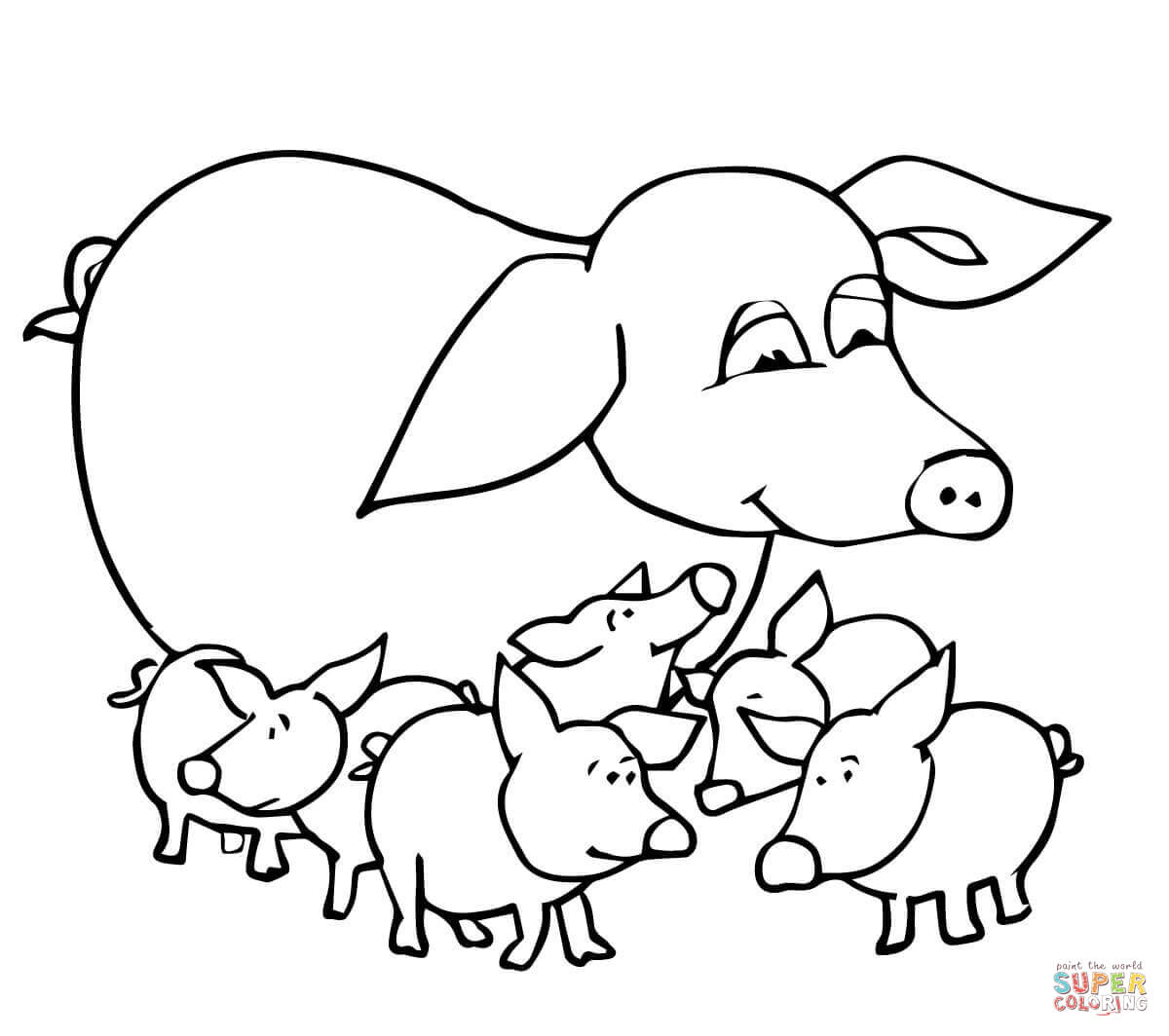 Baby Pigs And Mother Coloring Page