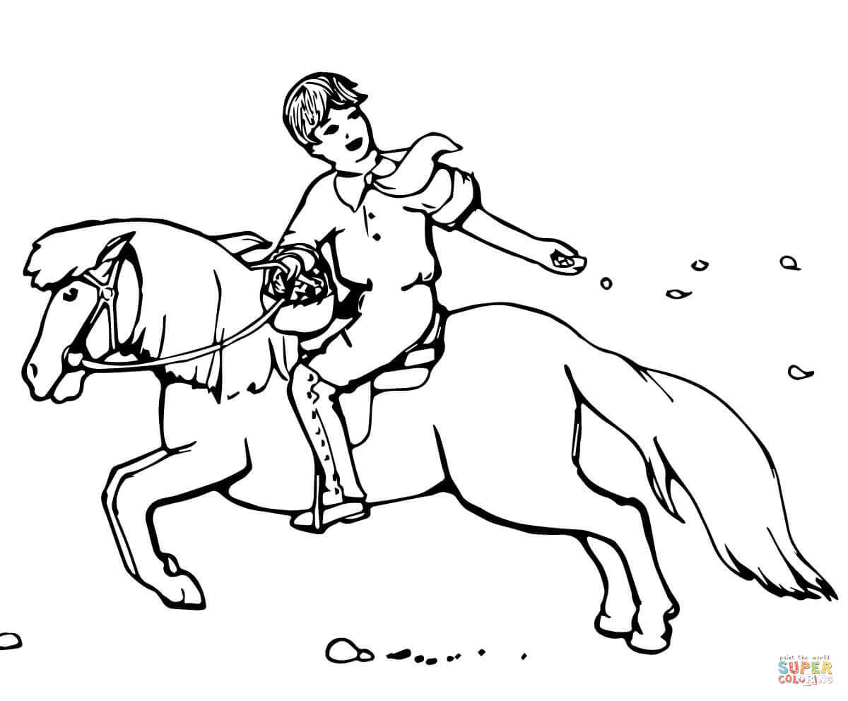 Boy Sowing Seeds While Riding A Pony Coloring Page