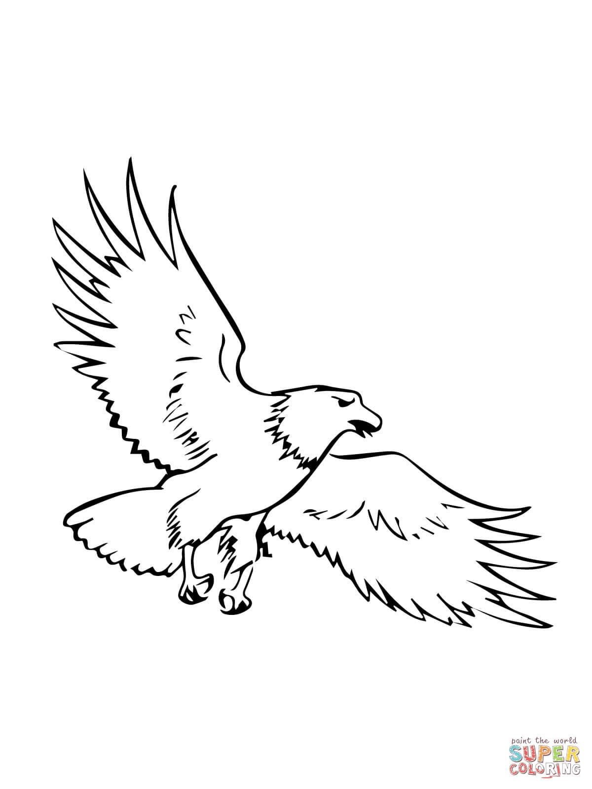 Soaring Bald Eagle Coloring Page