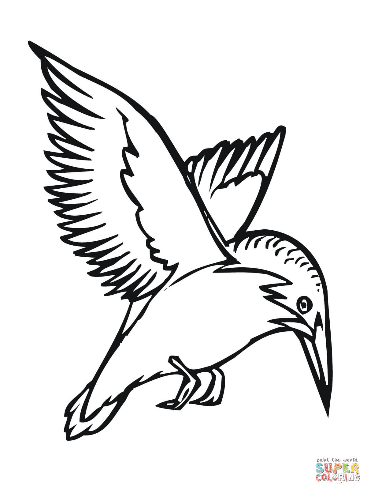Flying Kingfisher Coloring Page