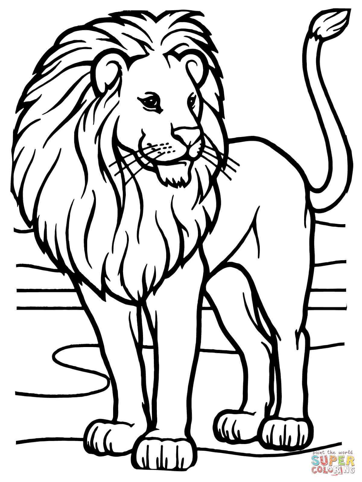 Male African Lion Coloring Page