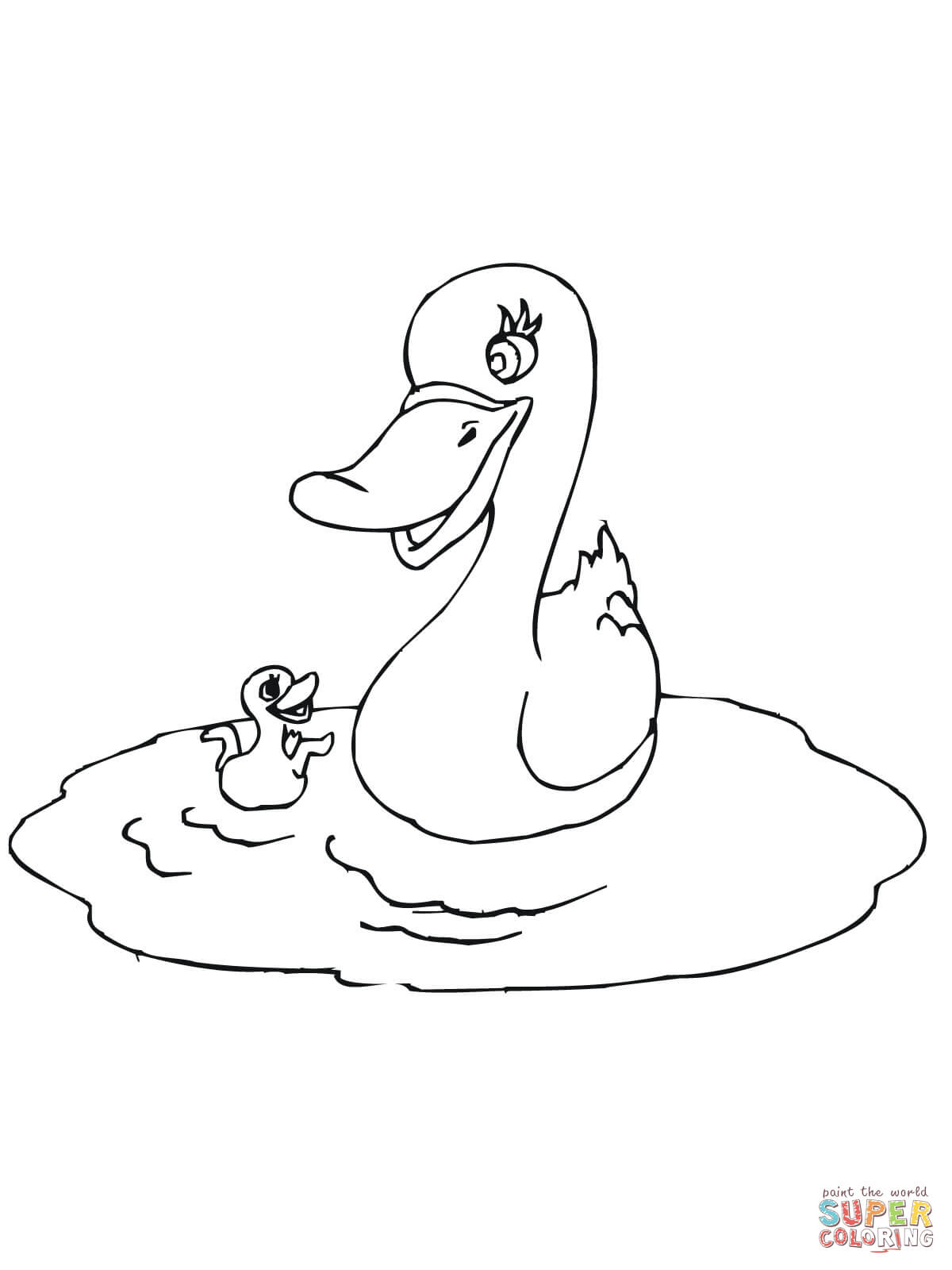 Mother Duck With Baby Coloring Page