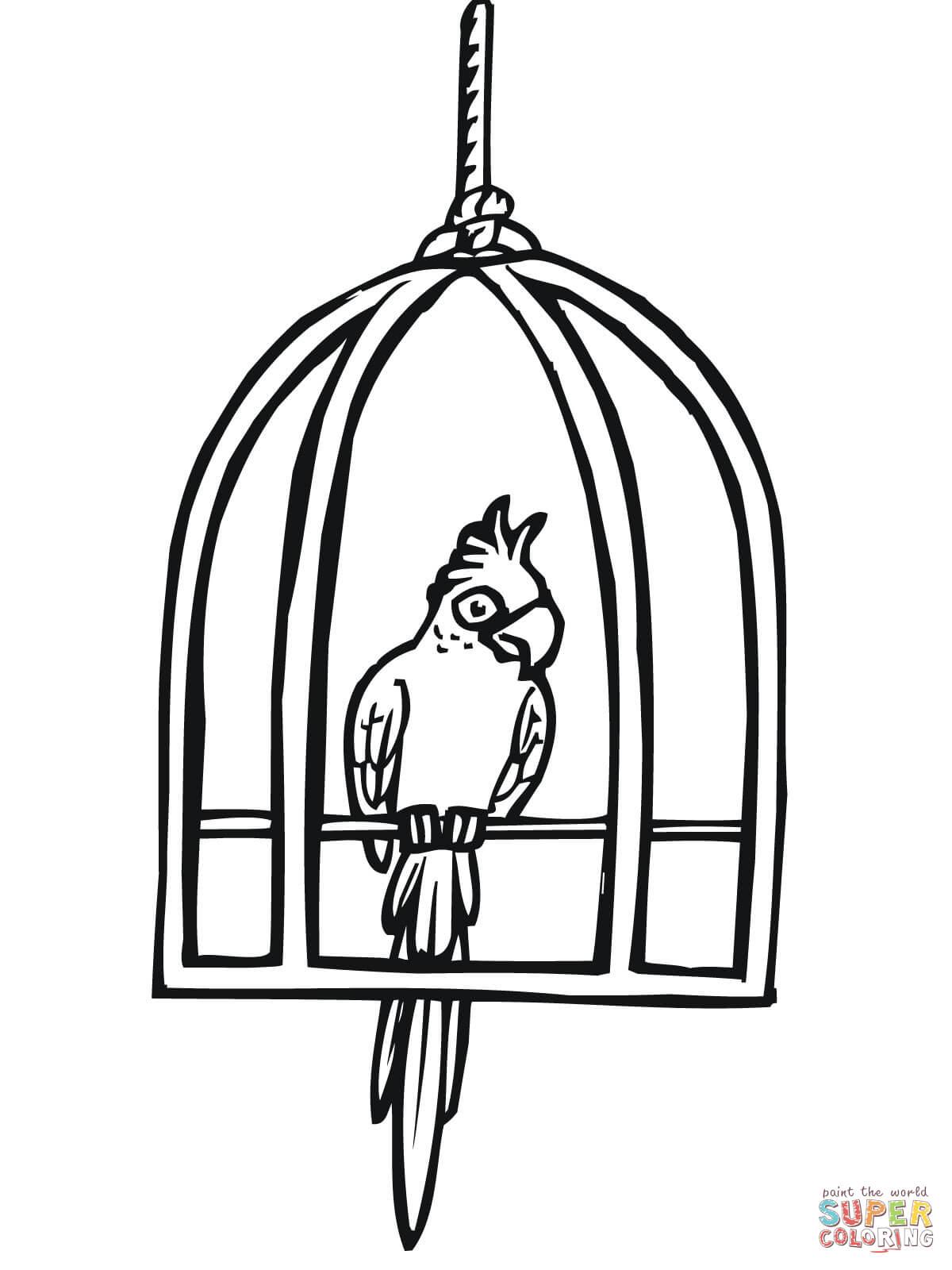 Papegaai In Een Kooi Kleurplaat