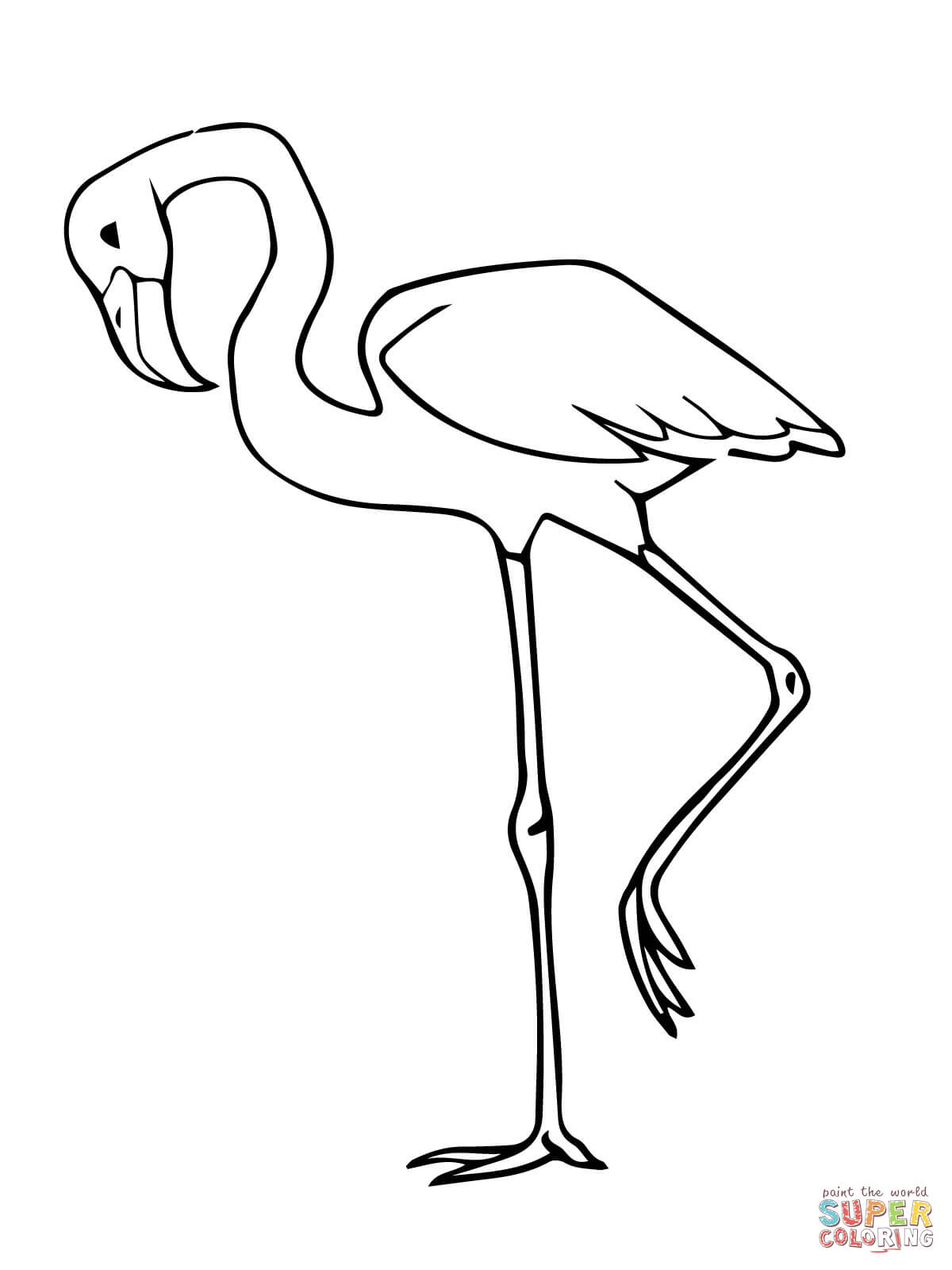 Pink Flamingo Bird Coloring Page