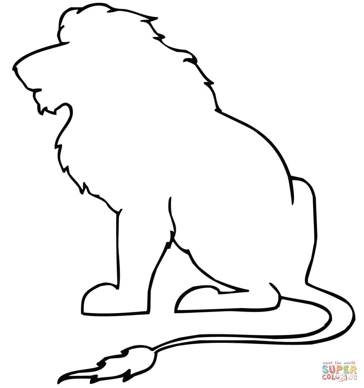 Sitting Lion Outline Coloring Page