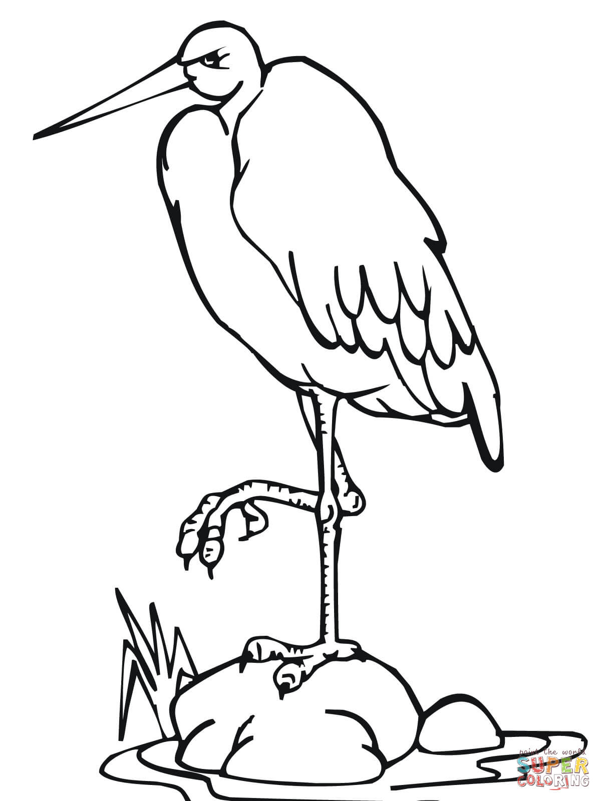 Stork Standing On One Leg Coloring Page