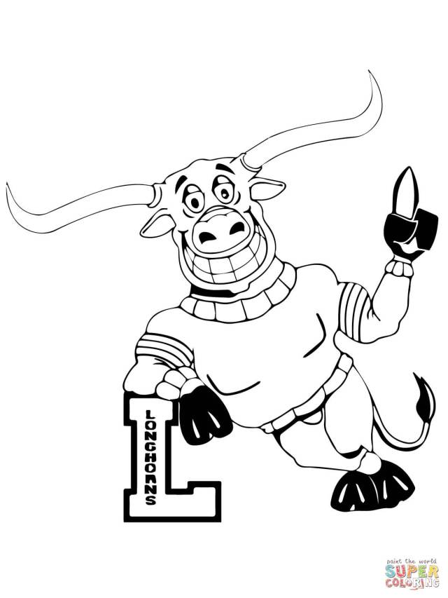 UT Longhorn Mascot coloring page  Free Printable Coloring Pages