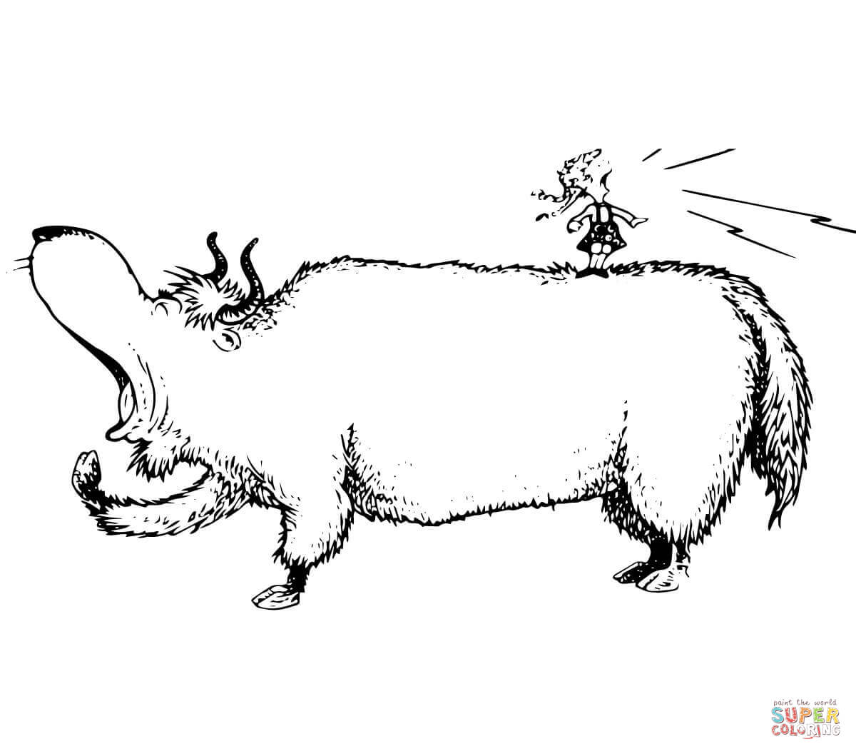 Yawning Yellow Yak Coloring Page