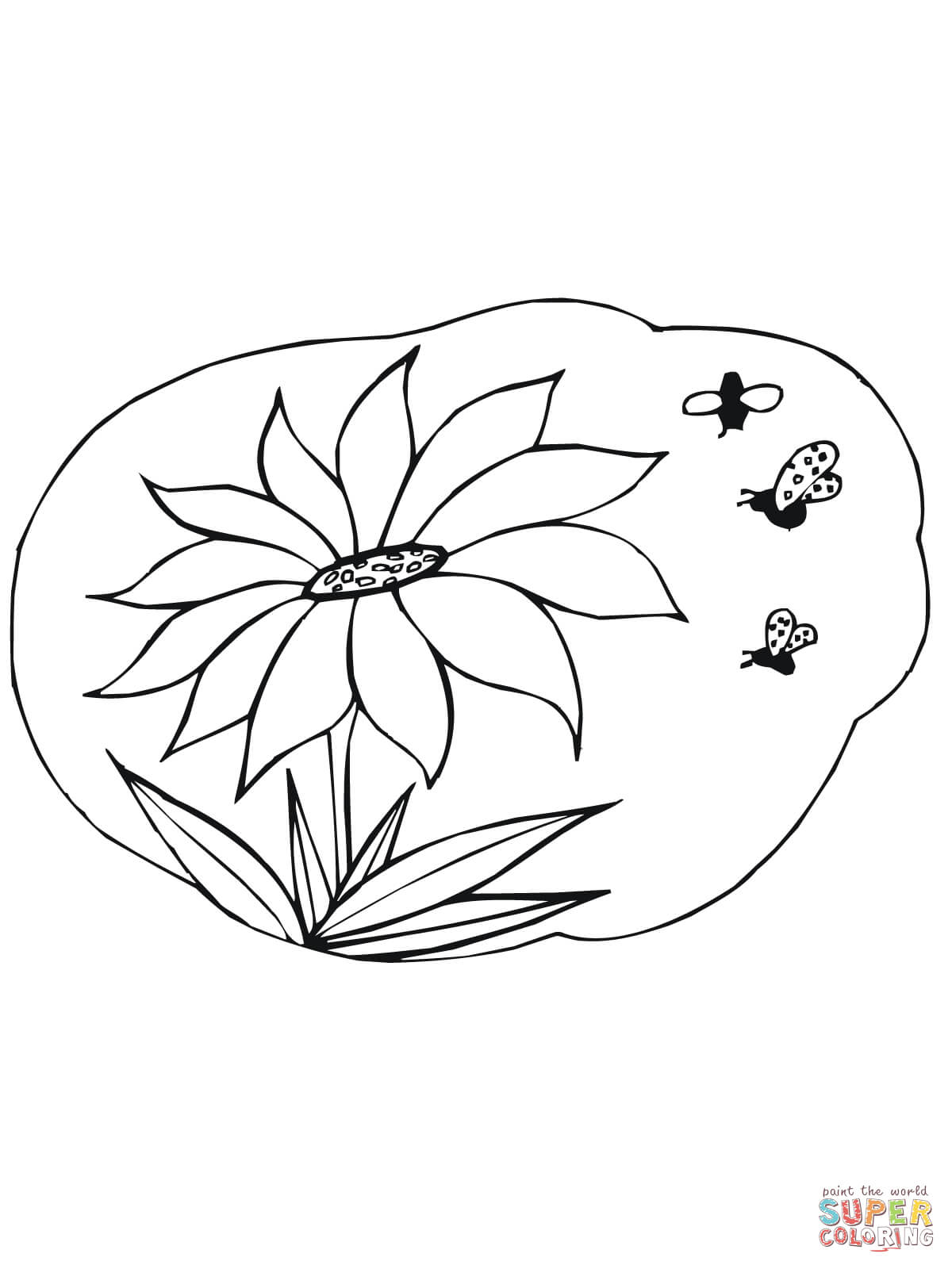 Bees Gather Nectar On Sunflower Coloring Page