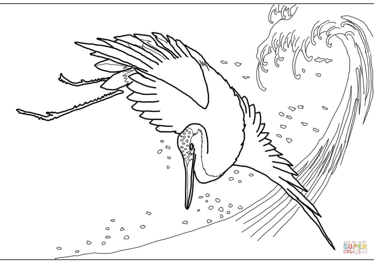 Japanese Red Crowned Crane By Hiroshige Coloring Page