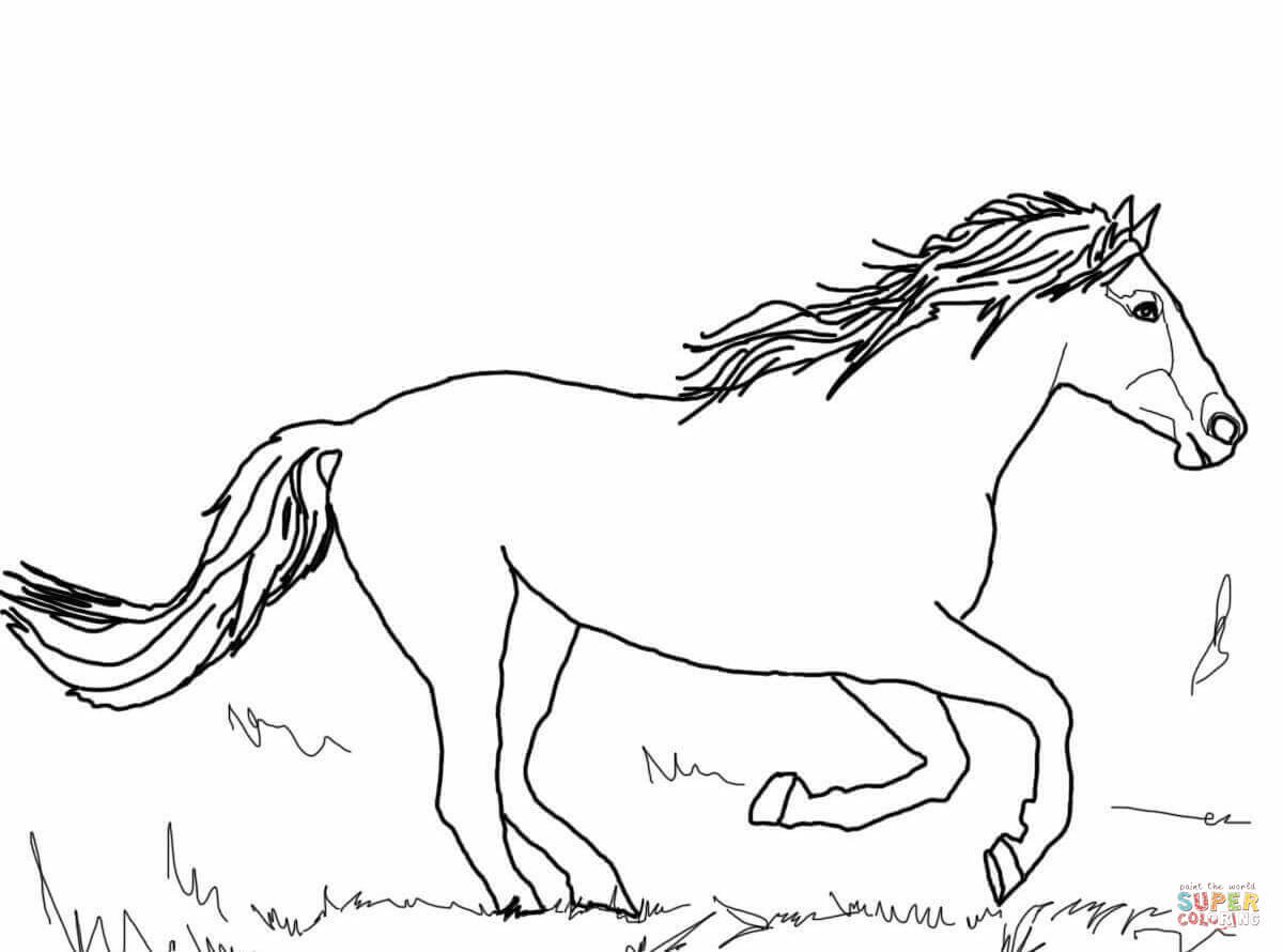 Running Mustang Coloring Page